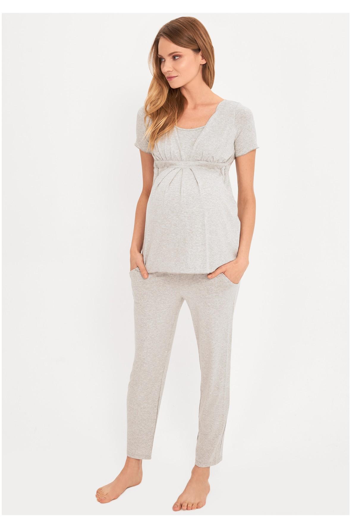 Piżama nocna dla kobiet w ciąży i karmiących -szara