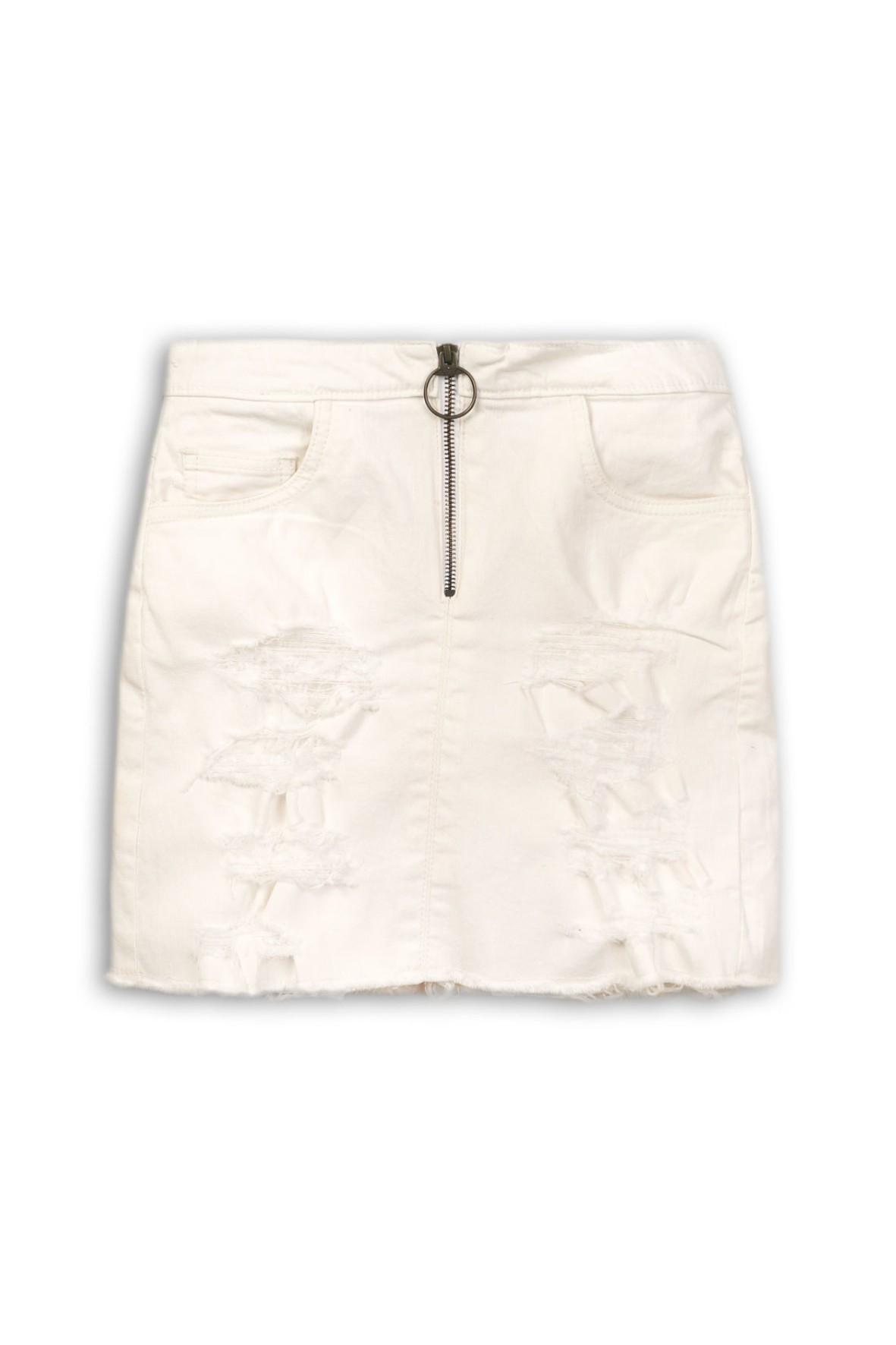 Spódnica dziewczęca jeansowa- biała z przetarciami