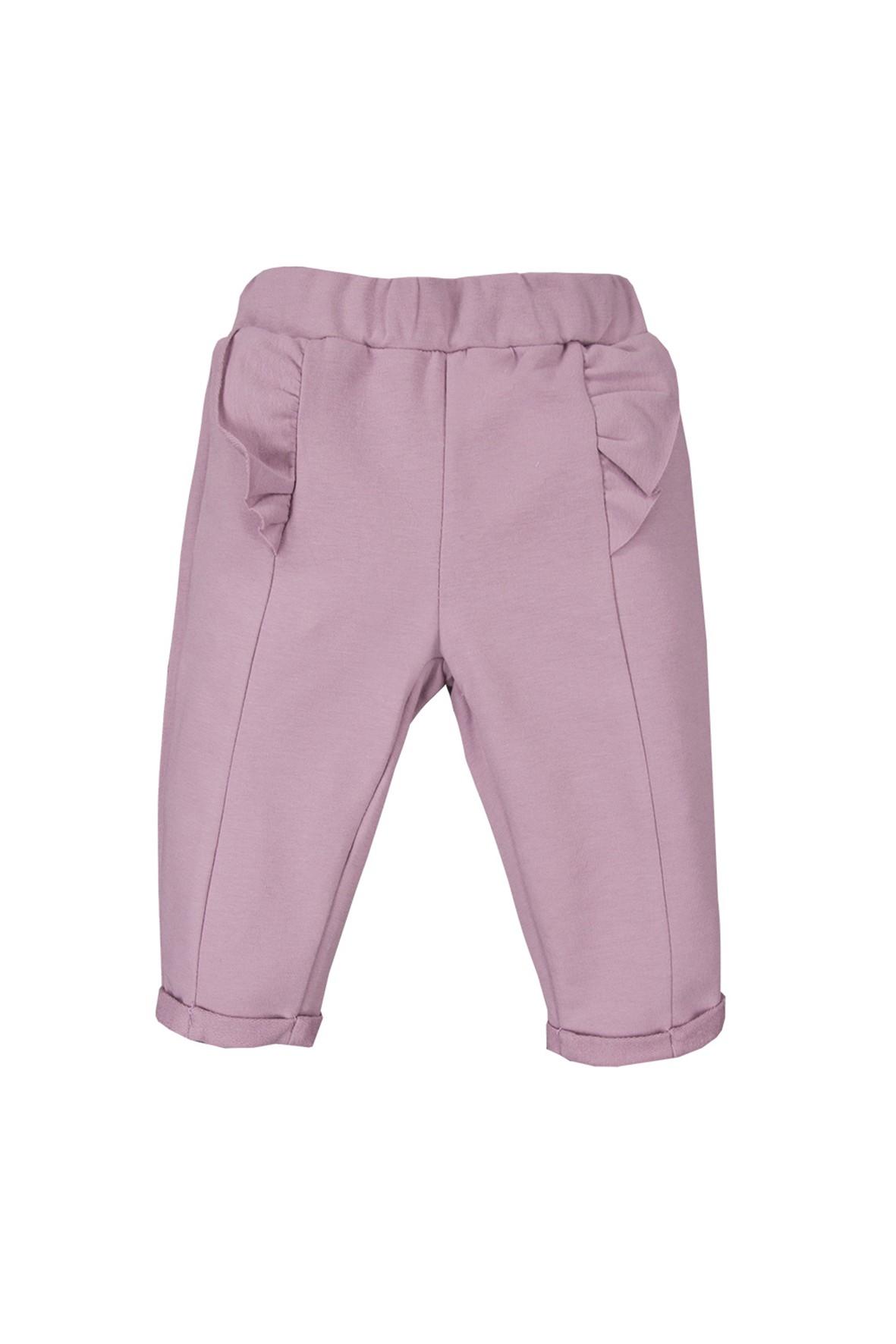 Bawełniane spodnie niemowlęce - wrzosowy