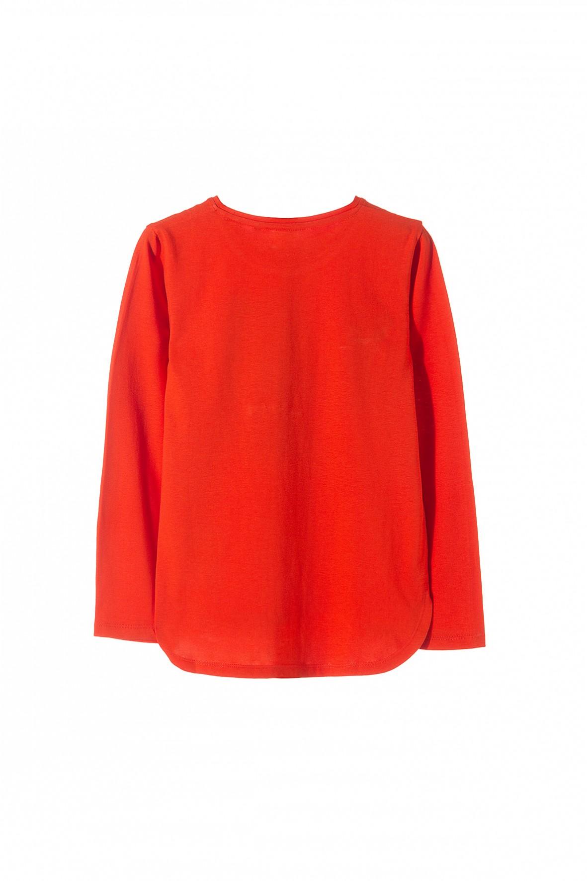 Czerwona Bluzka Z Długim Rękawem Dla Dziewczynki W Wieku Szkolnym Wykonana Z Cienkiej Dzianiny