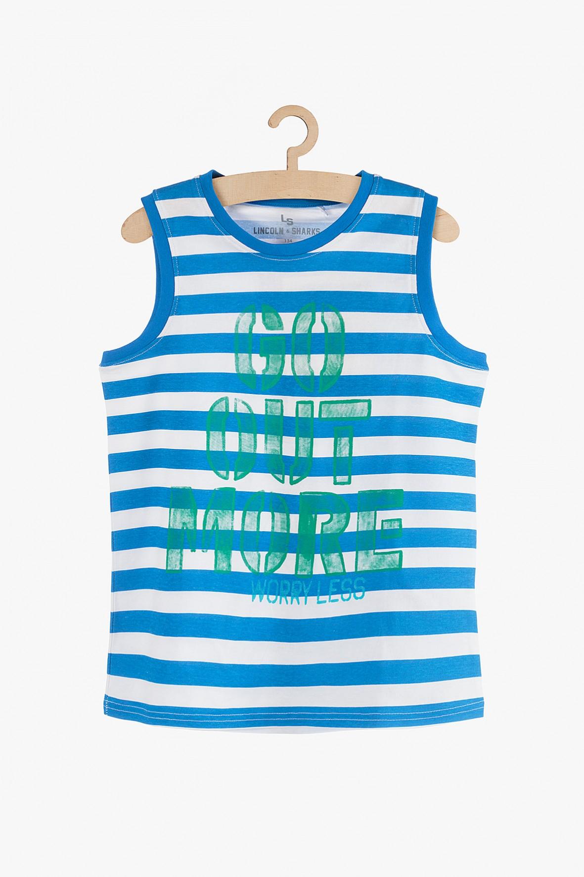 Koszulka chłopięca na lato w niebieskie paski