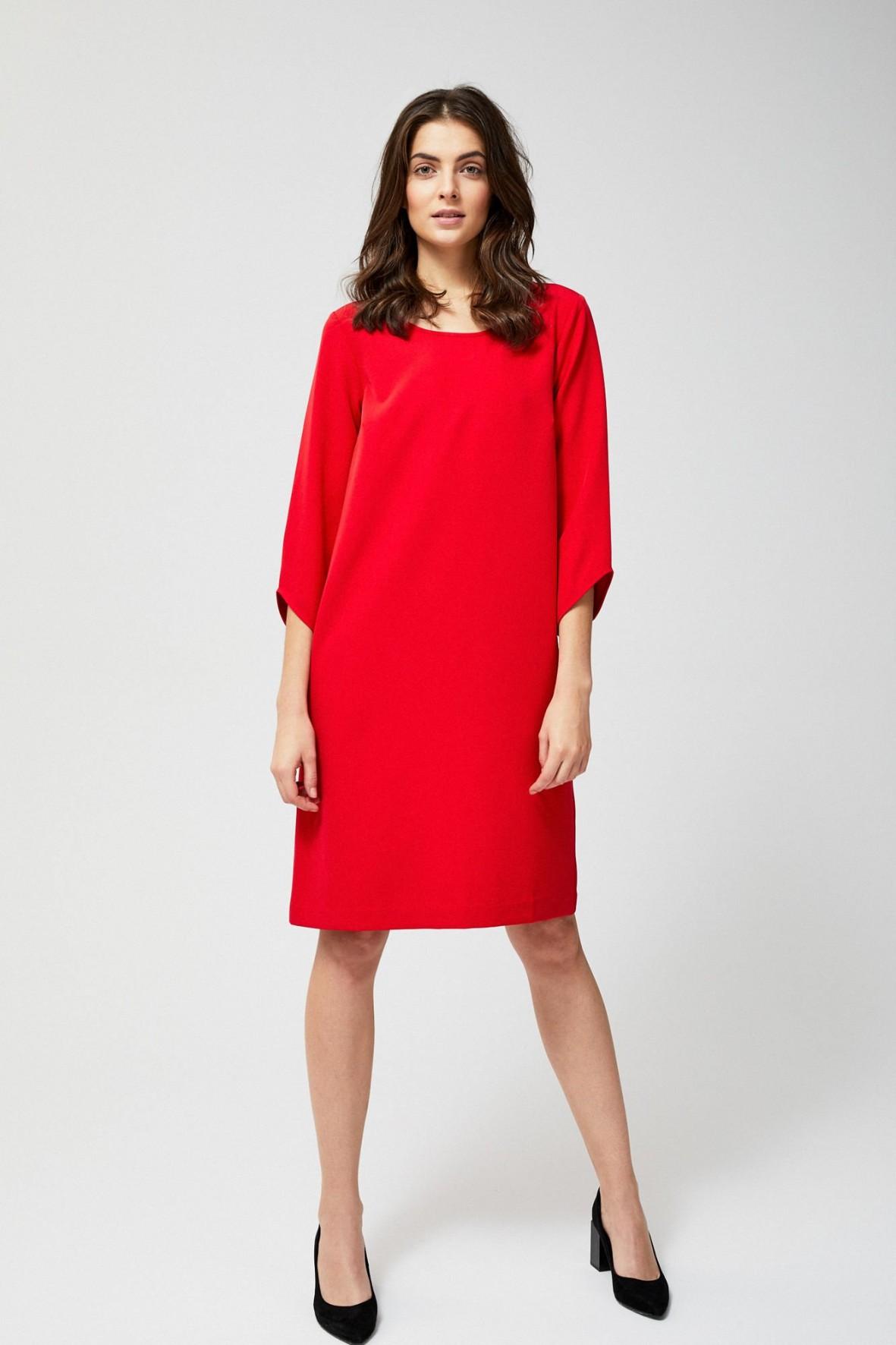 Asymetryczna sukienka damska- czerwona
