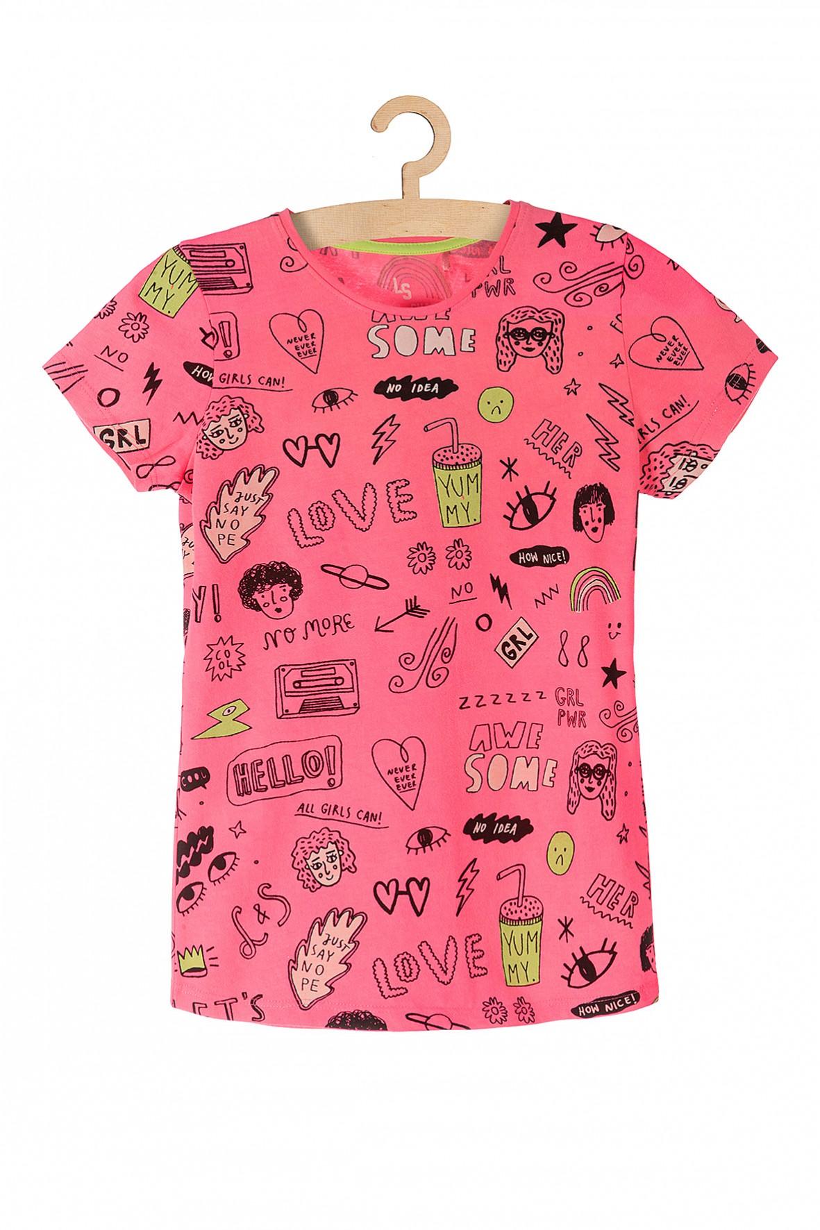 T-shirt dla dziewczynki- różowa z nadrukami