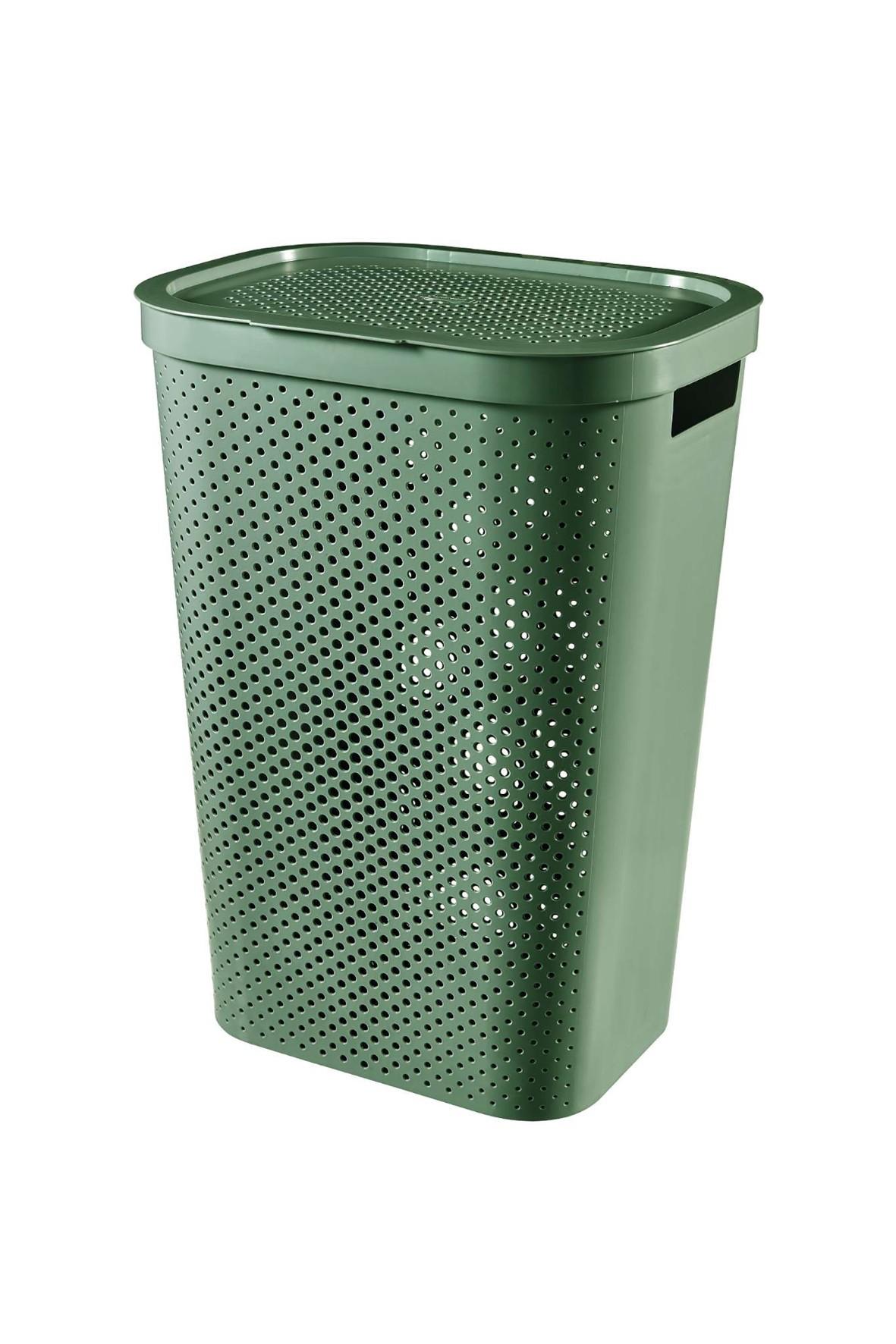 Kosz na bieliznę Infinity recycled zielony 60L