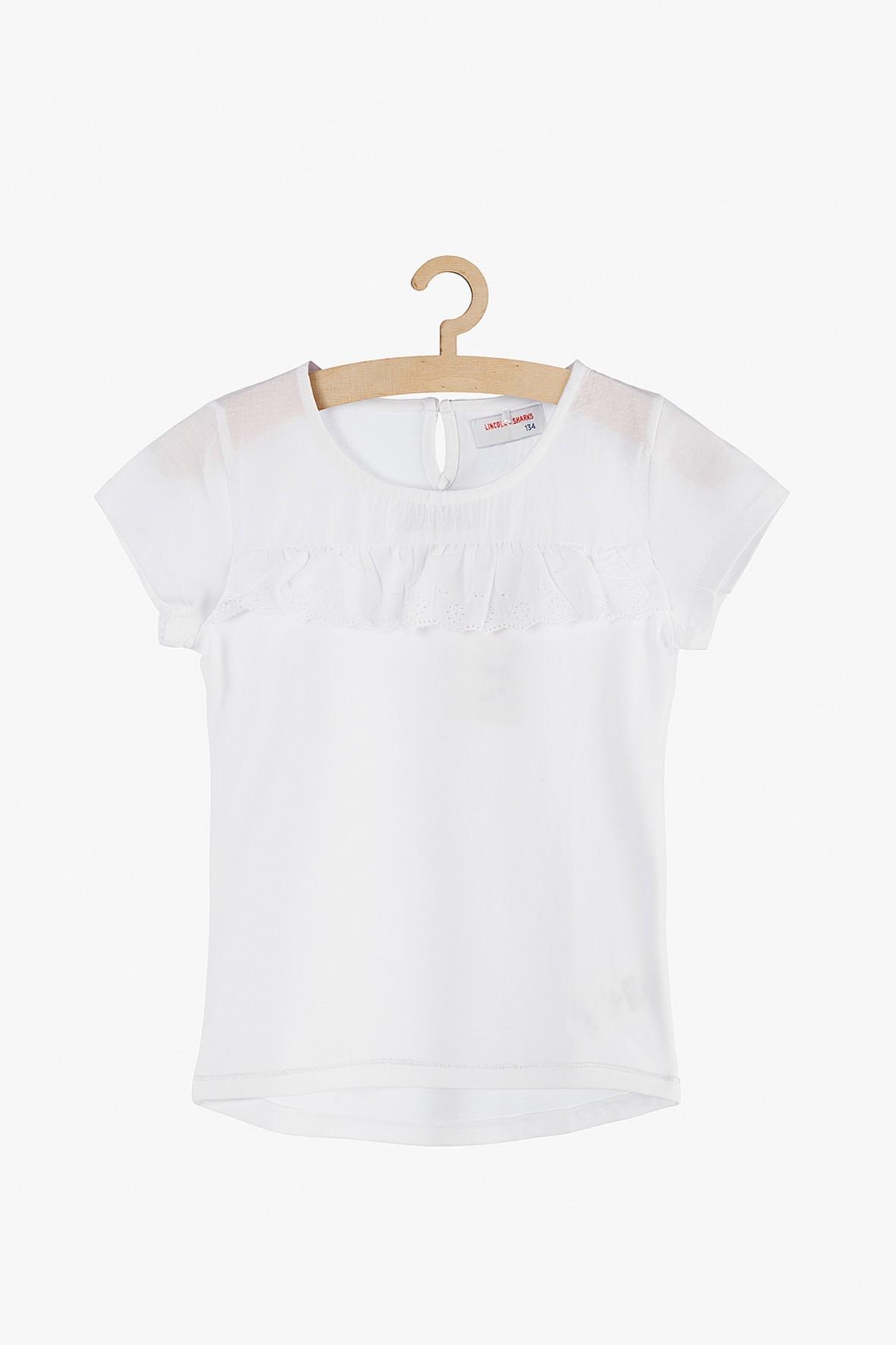 Biała bawełniana bluzka z krótkim rękawem