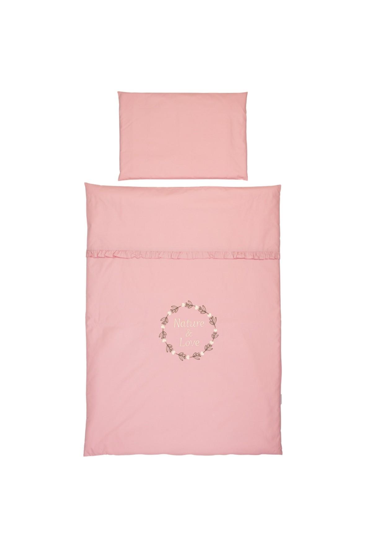 Pościel do łóżeczka dziecięcego 2 elementy różowa - 120x80 cm