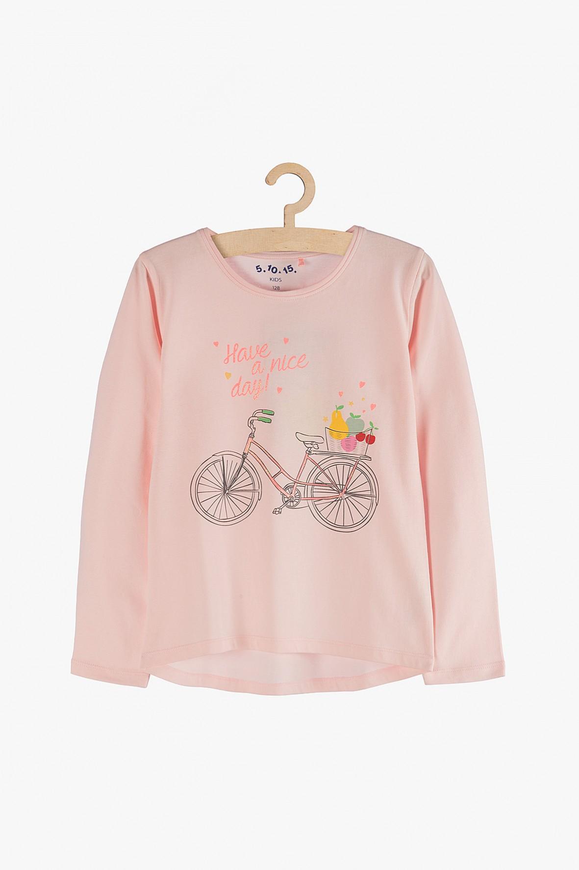 Bluzka dziewczęca różowa z napisem Have a nice day