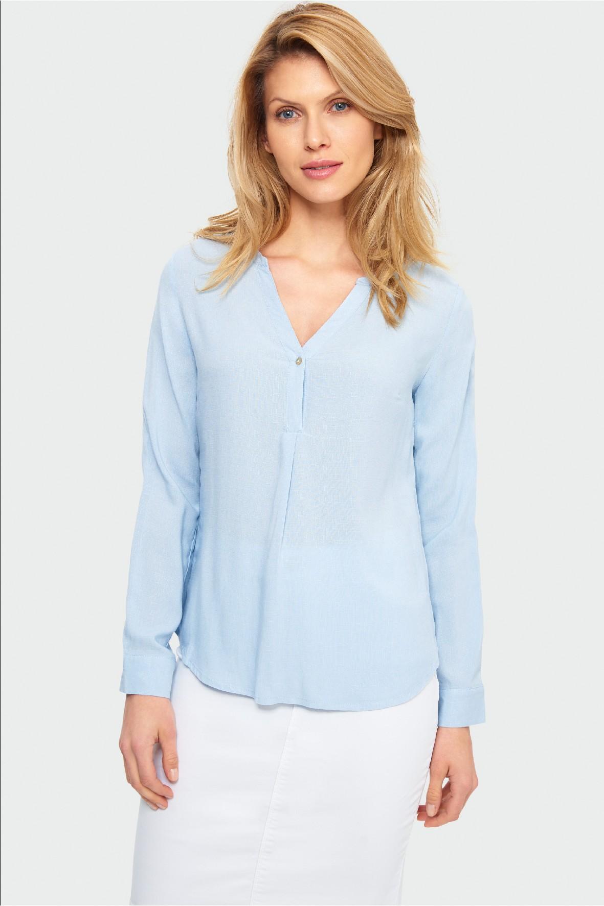 Bluzka damska koszulowa z długim rękawem-niebieska