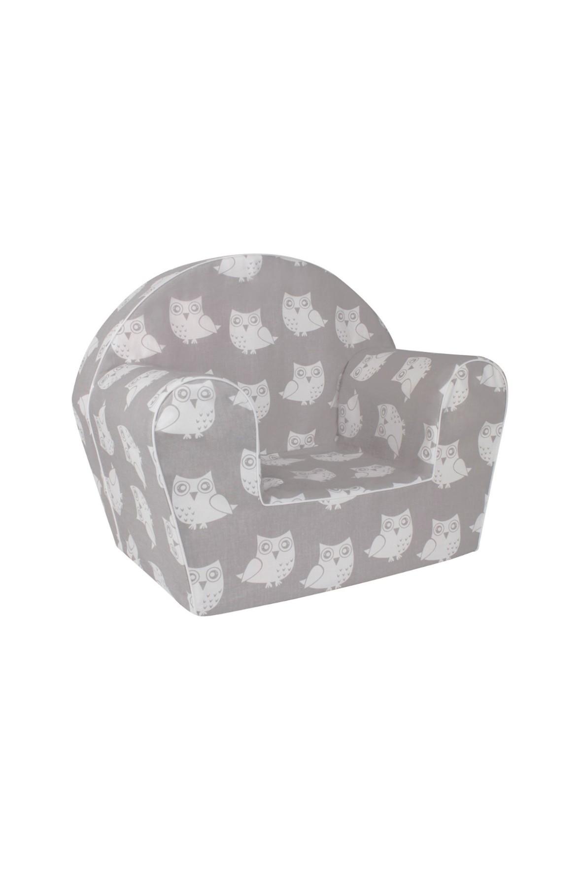 Szary fotelik z białe sowy