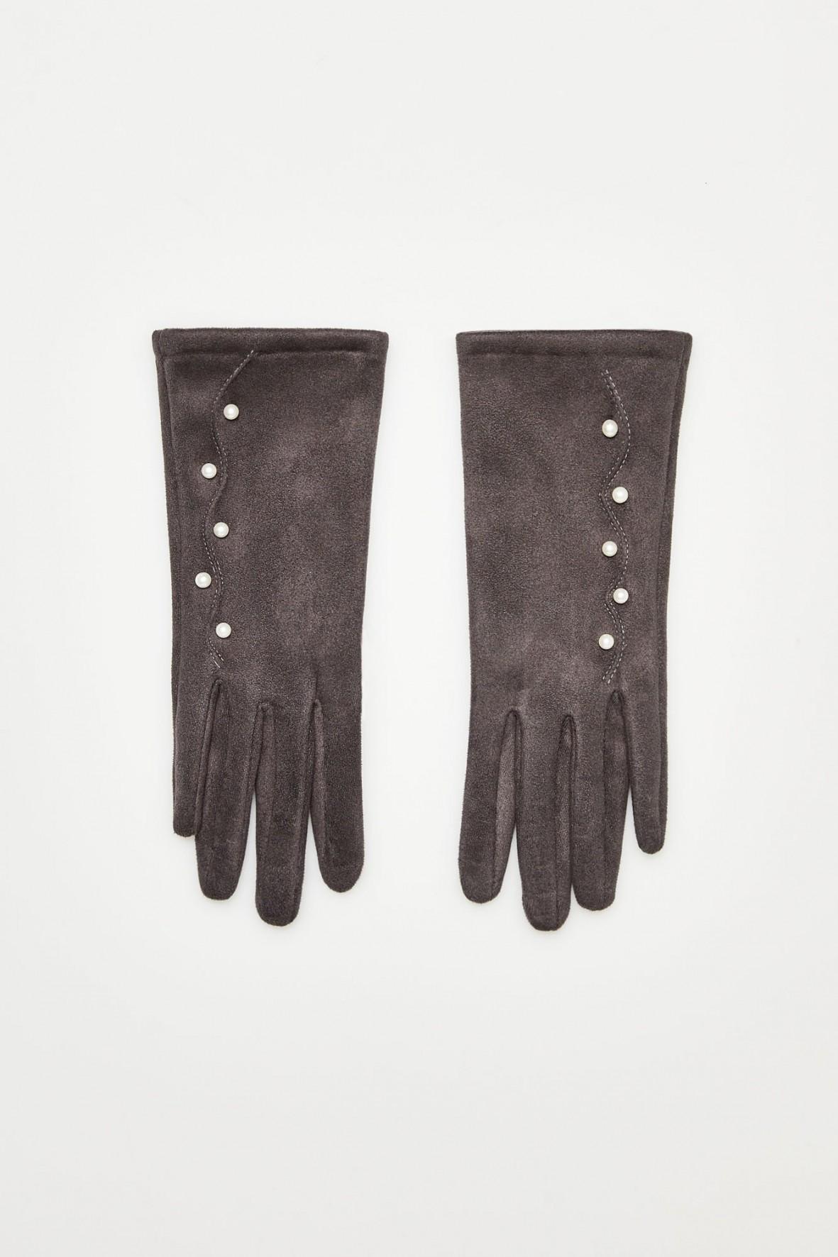 Rękawiczki z perełkami - szare