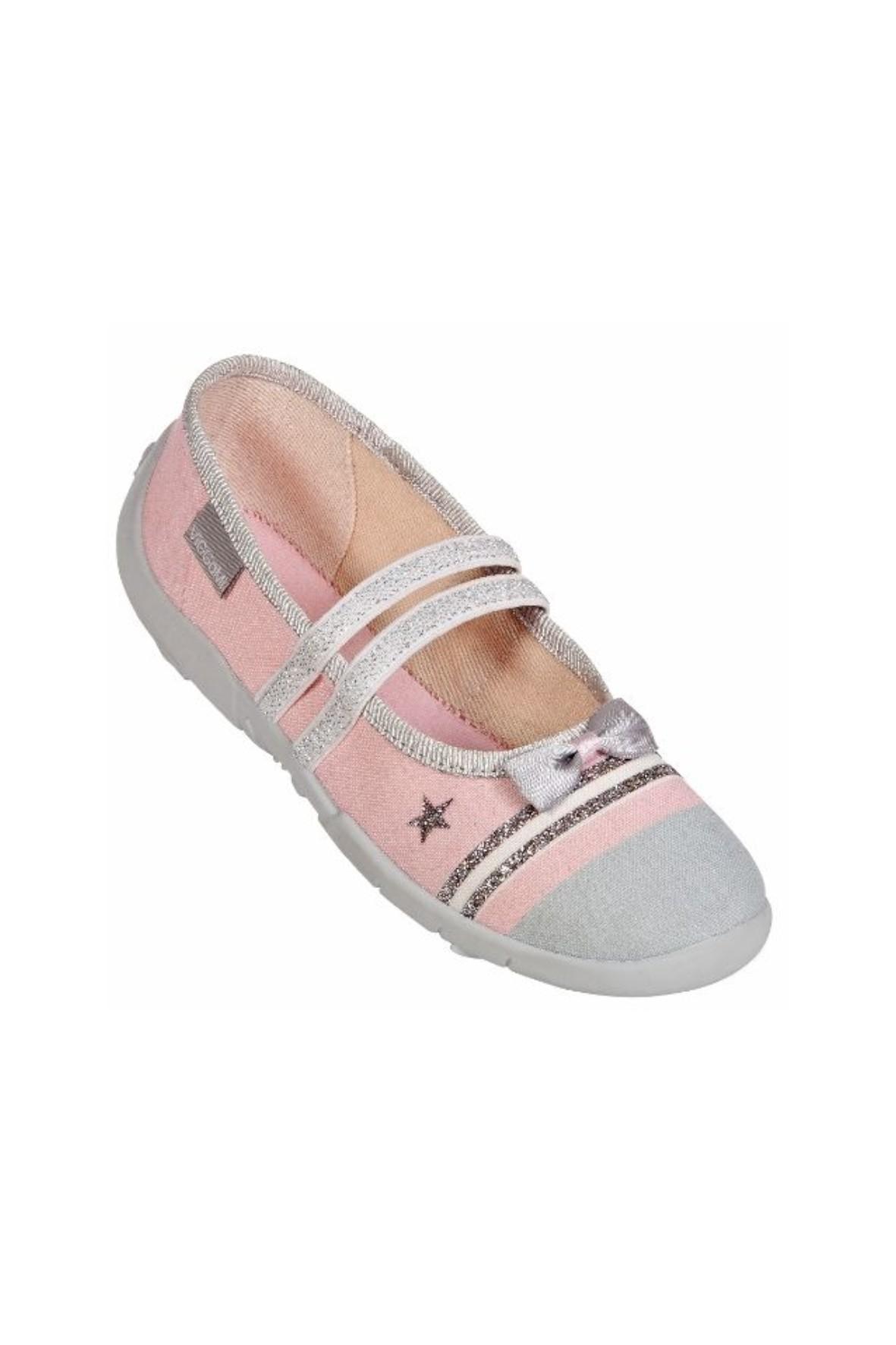 Buty dziewczęce różowe ze srebrnymi elementami