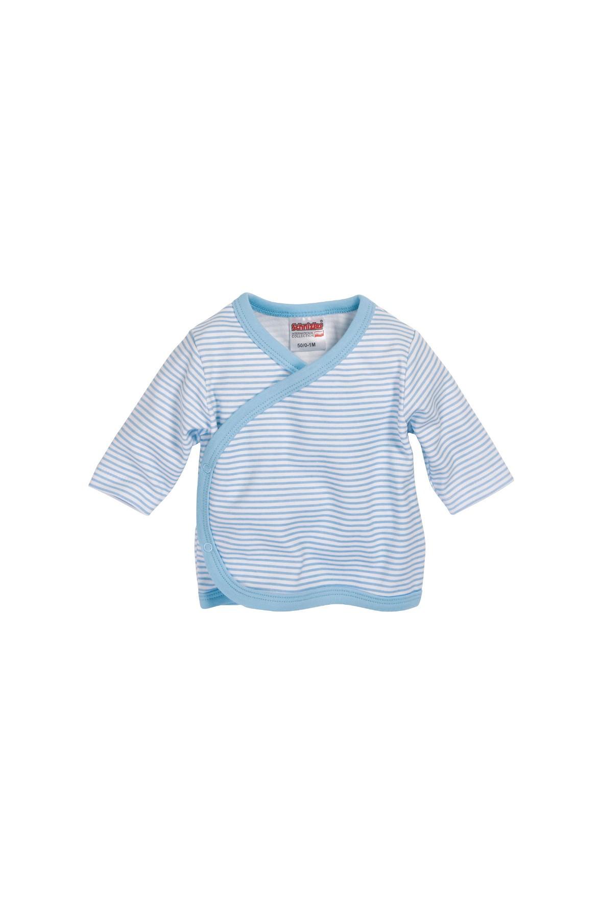 Kaftanik w biało-niebieskie paski-wyprawka dla noworodka