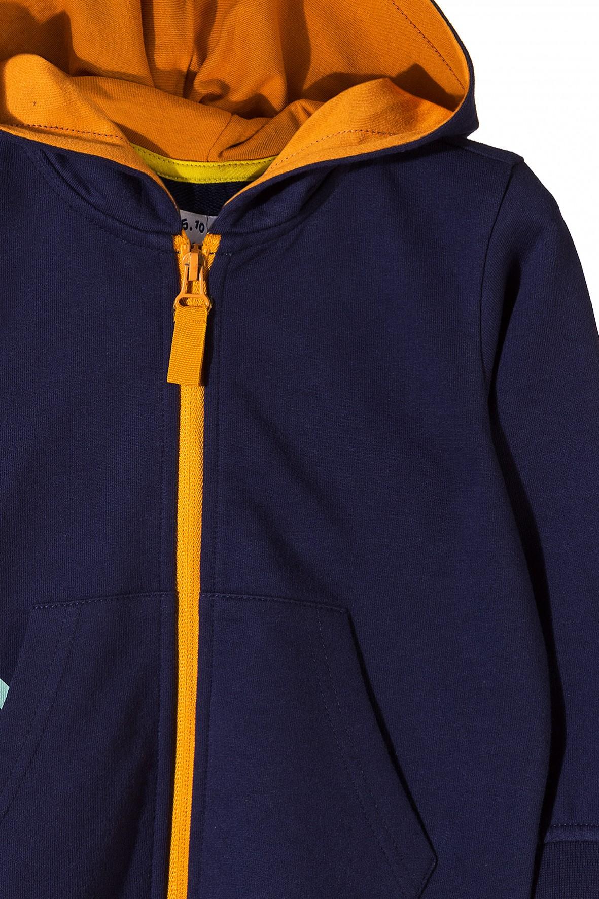 355311ed17ffb Granatowa bluza dresowa z kieszeniami i kontrastowymi pomarańczowymi ...