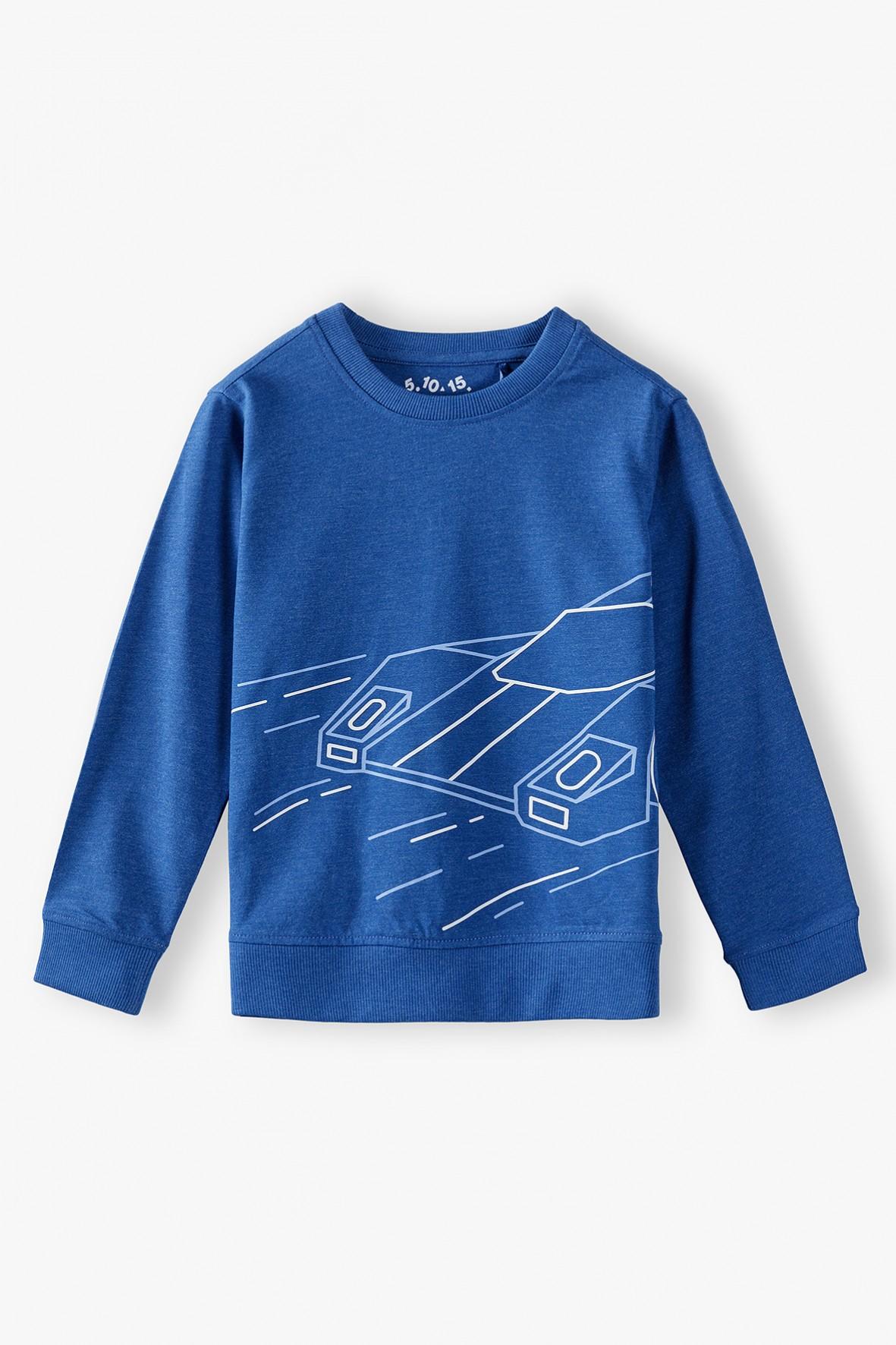 Niebieska bluzka chłopięca z długim rękawem