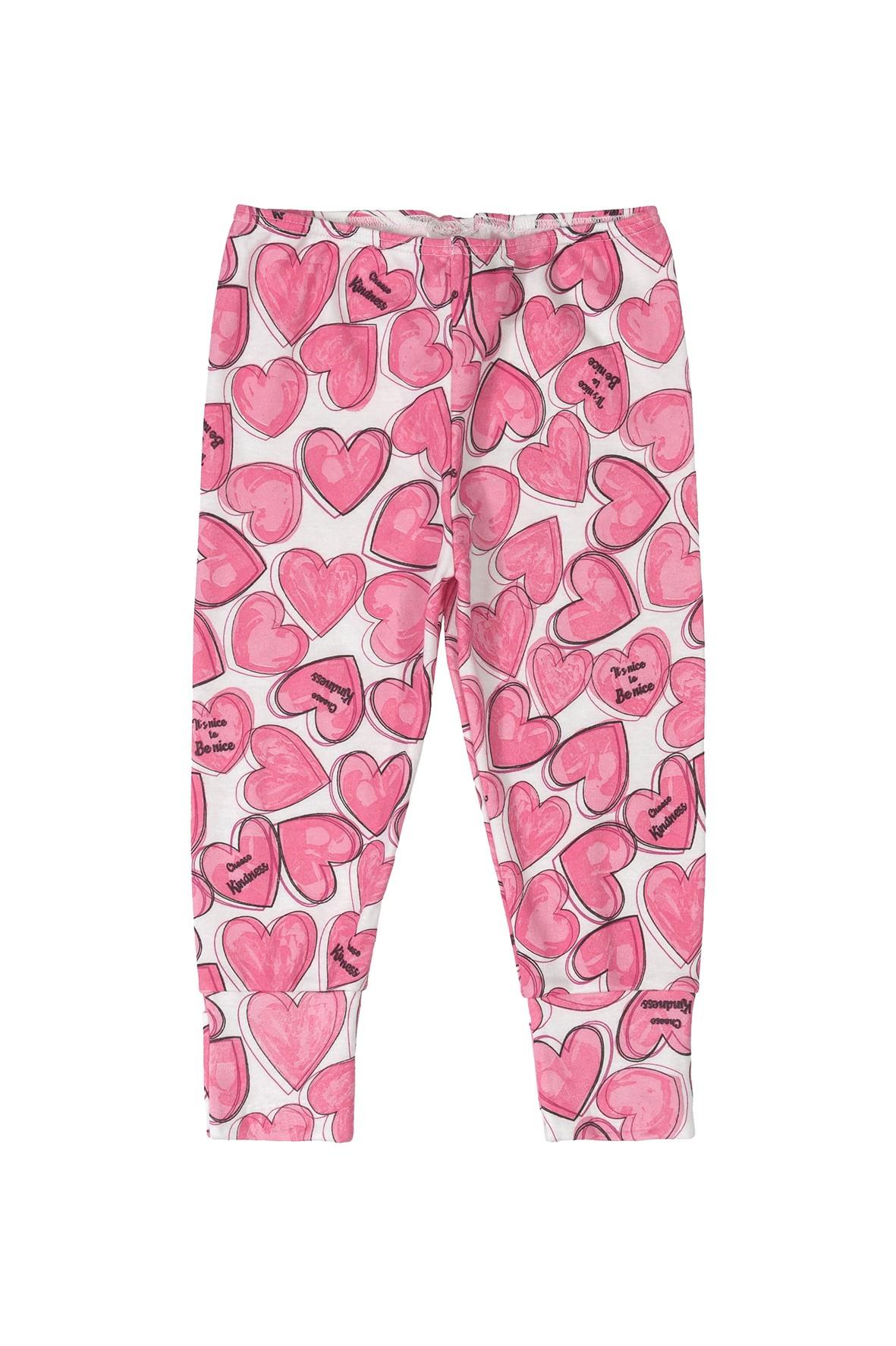 Spodnie niemowlęce różowe w serduszka