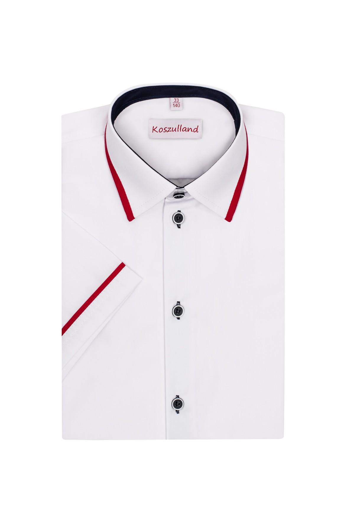 Koszula chłopięca biała z czerwonymi wstawkami- krótki rękaw