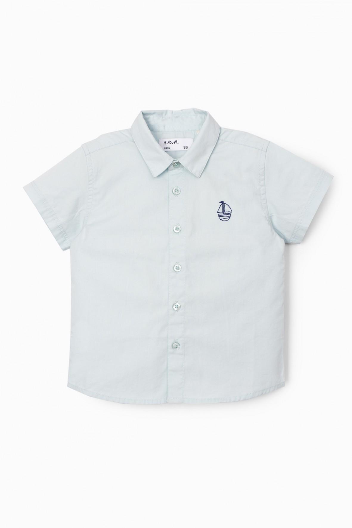 Błękitna koszula niemowlęca na krótki rękaw