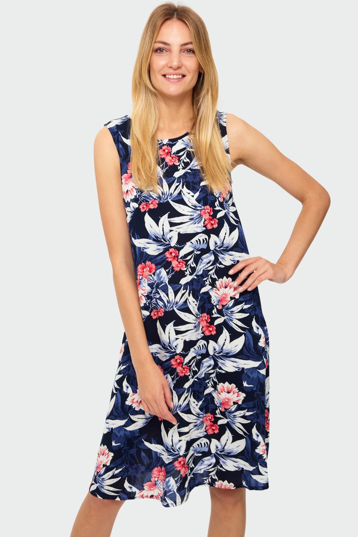 Wiskozowa sukienka z kwiatowym nadrukiem granatowa