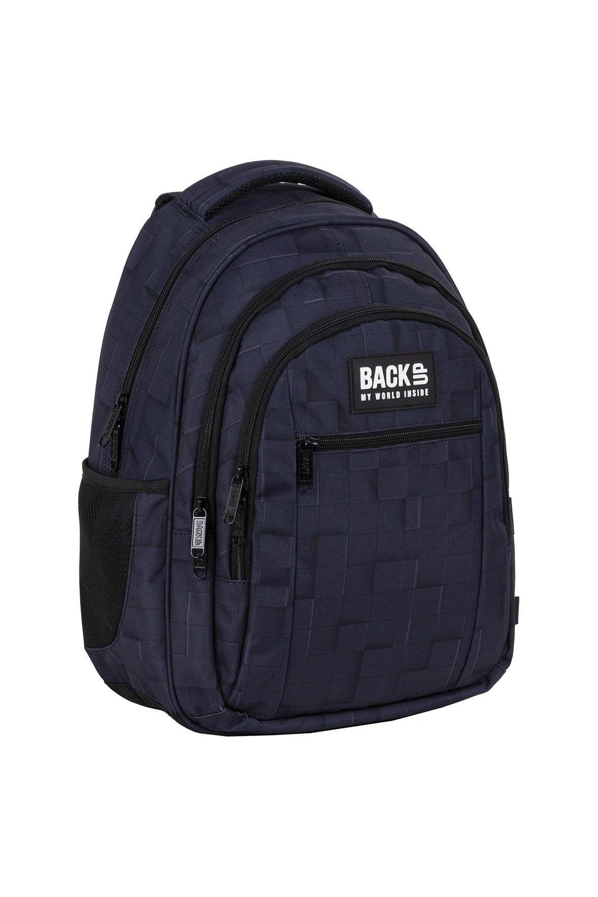 Plecak BackUp chłopięcy granatowy 3D