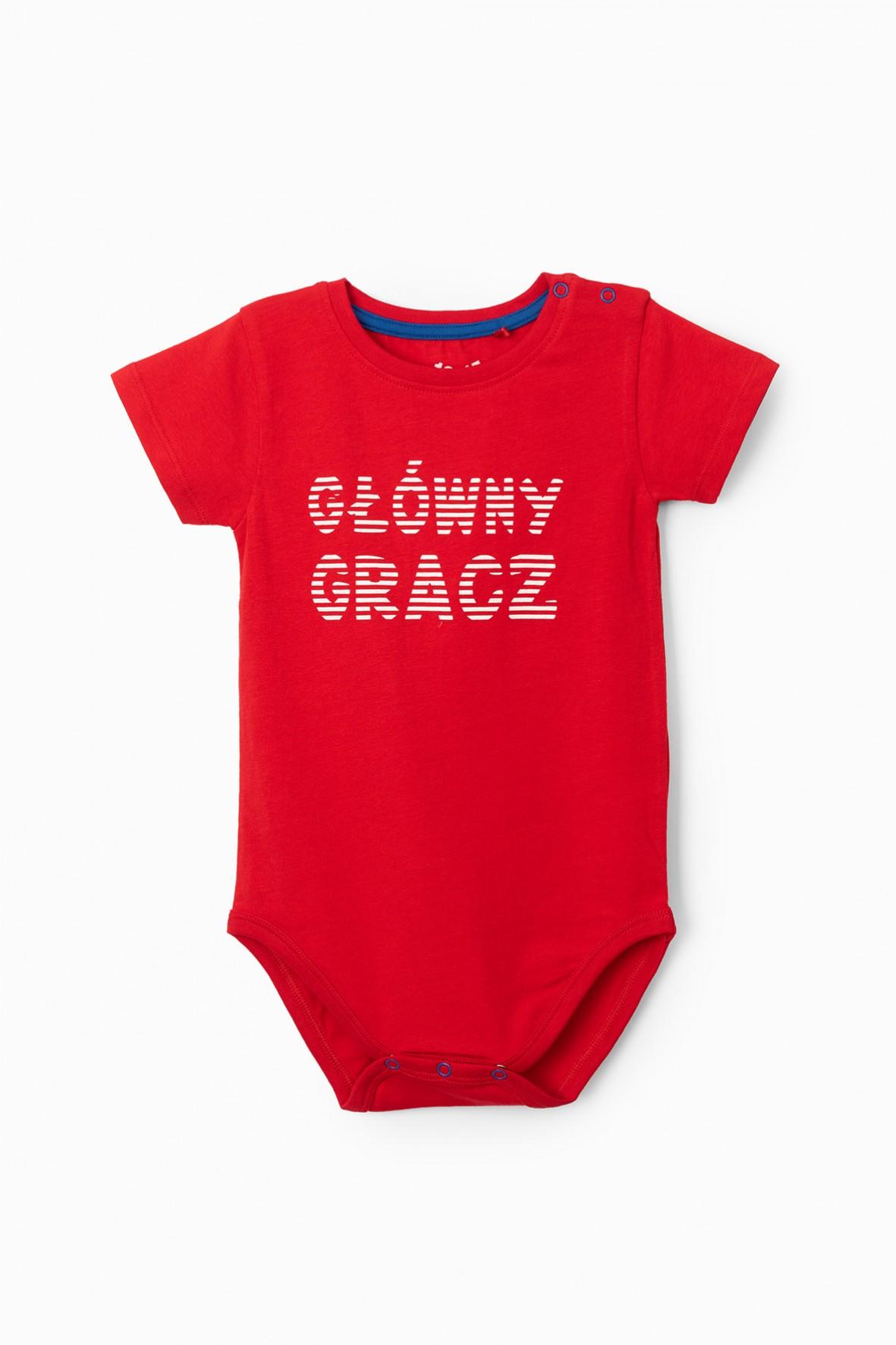 Czerwone body niemowlęce z napisem- Główny gracz