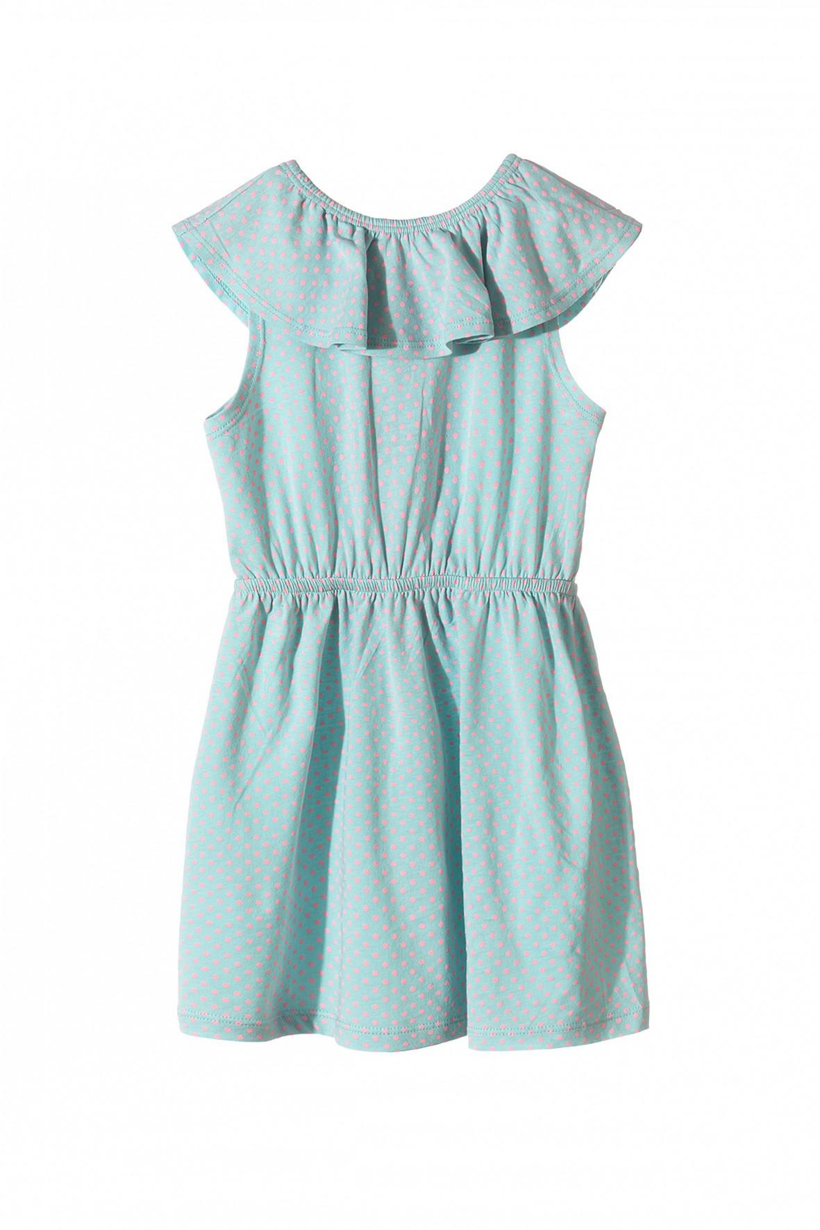 682e11bea3 Bawełniana sukienka na lato dla dziewczynki- zielona w różowe kropki.