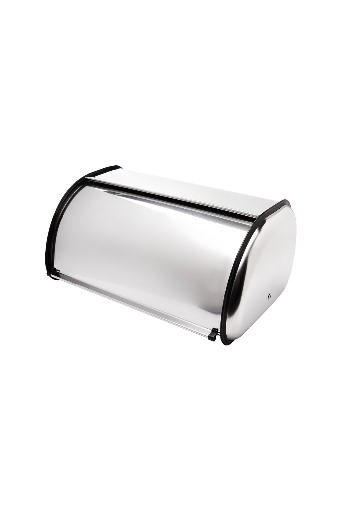 Chlebak ze stali nierdzewnej- czarno-srebrny- 35x23,5x14 cm