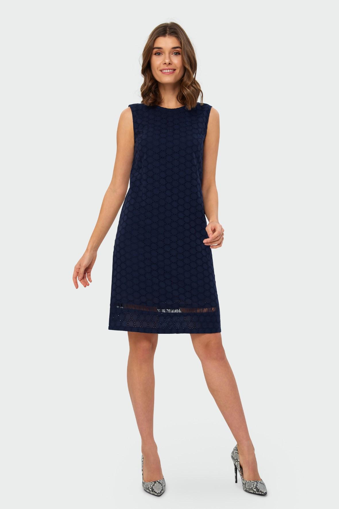 Granatowa bawełniana sukienka damska z haftowanej tkaniny