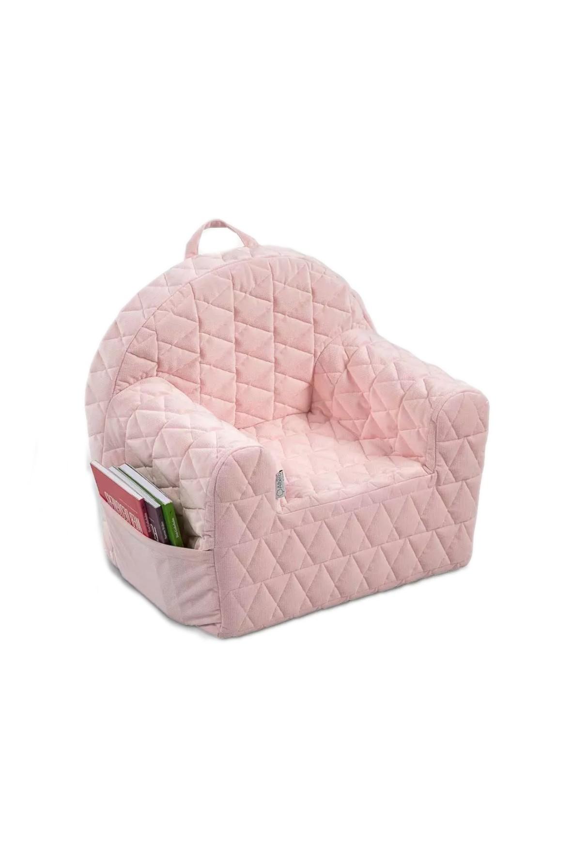 Fotelik piankowy Velvet w kolorze różowym