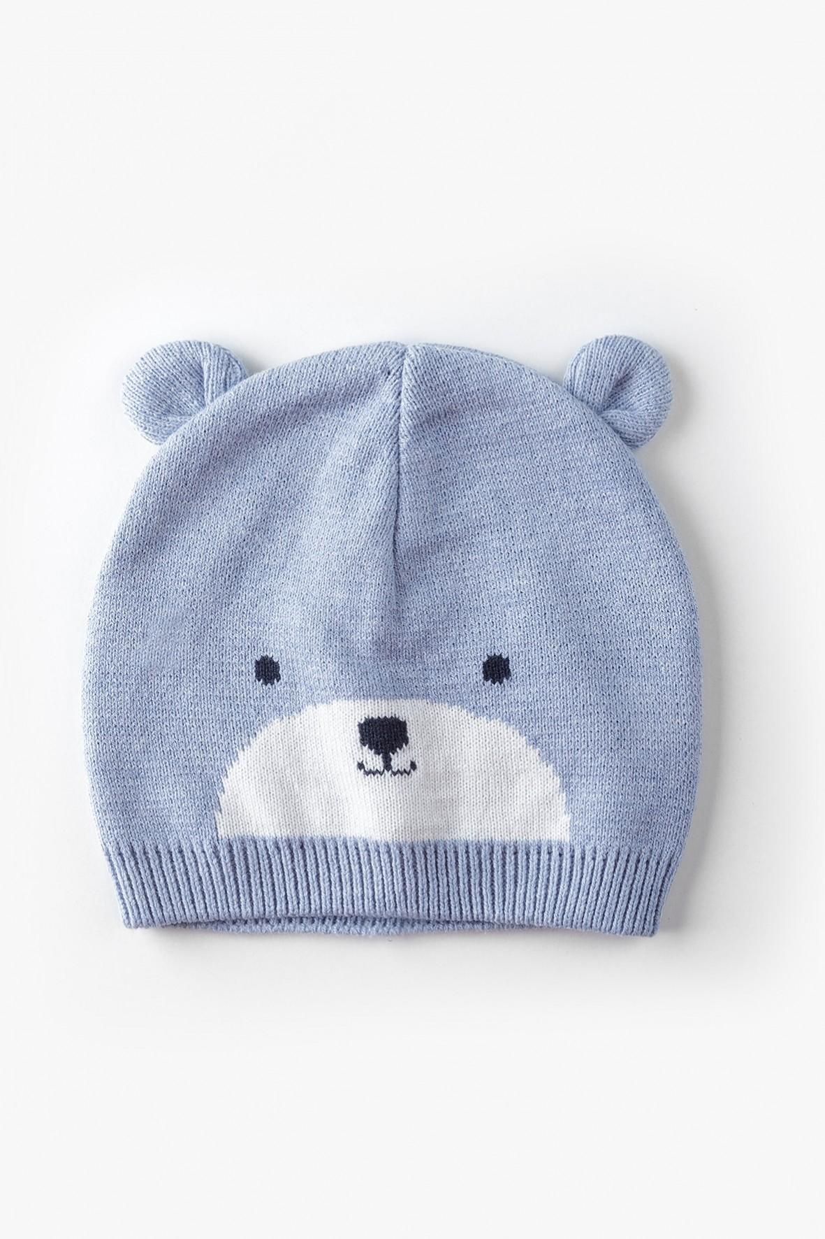 Niebieska przejściowa czapka z misiem