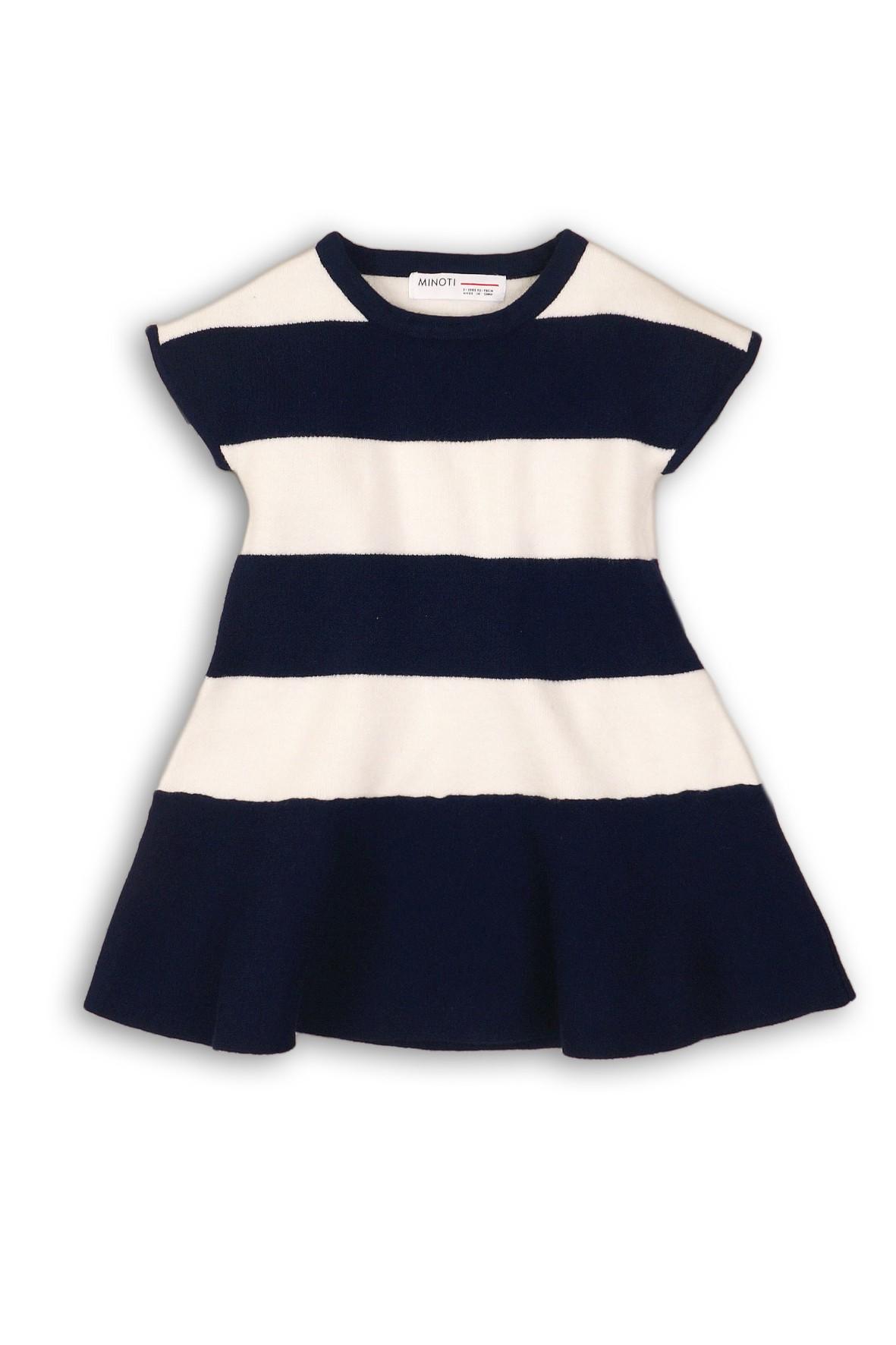 Sukienka dla niemowlaka- granatowo białe paski