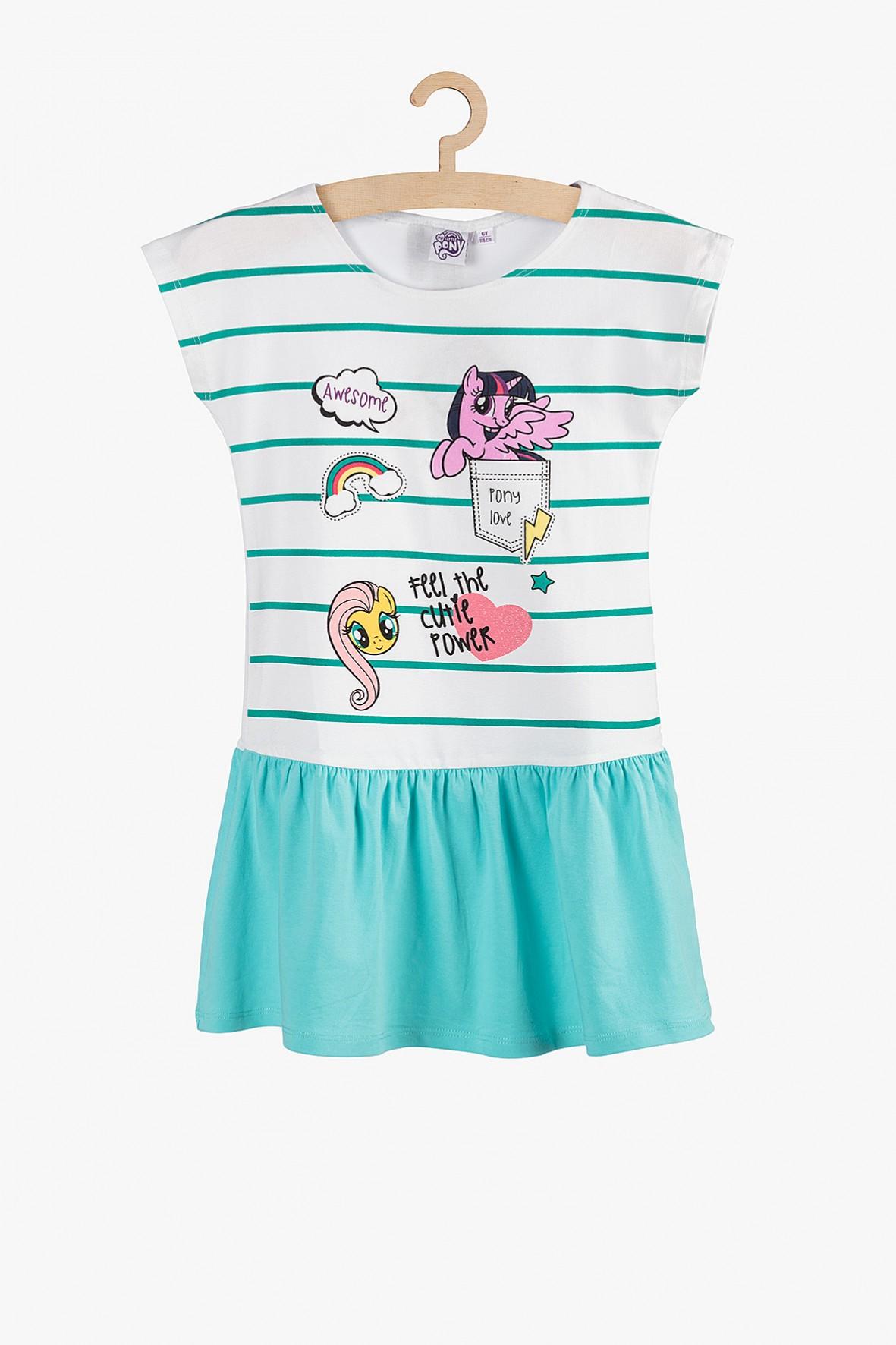 Sukienka na lato- My Little Pony biało-turkusowa