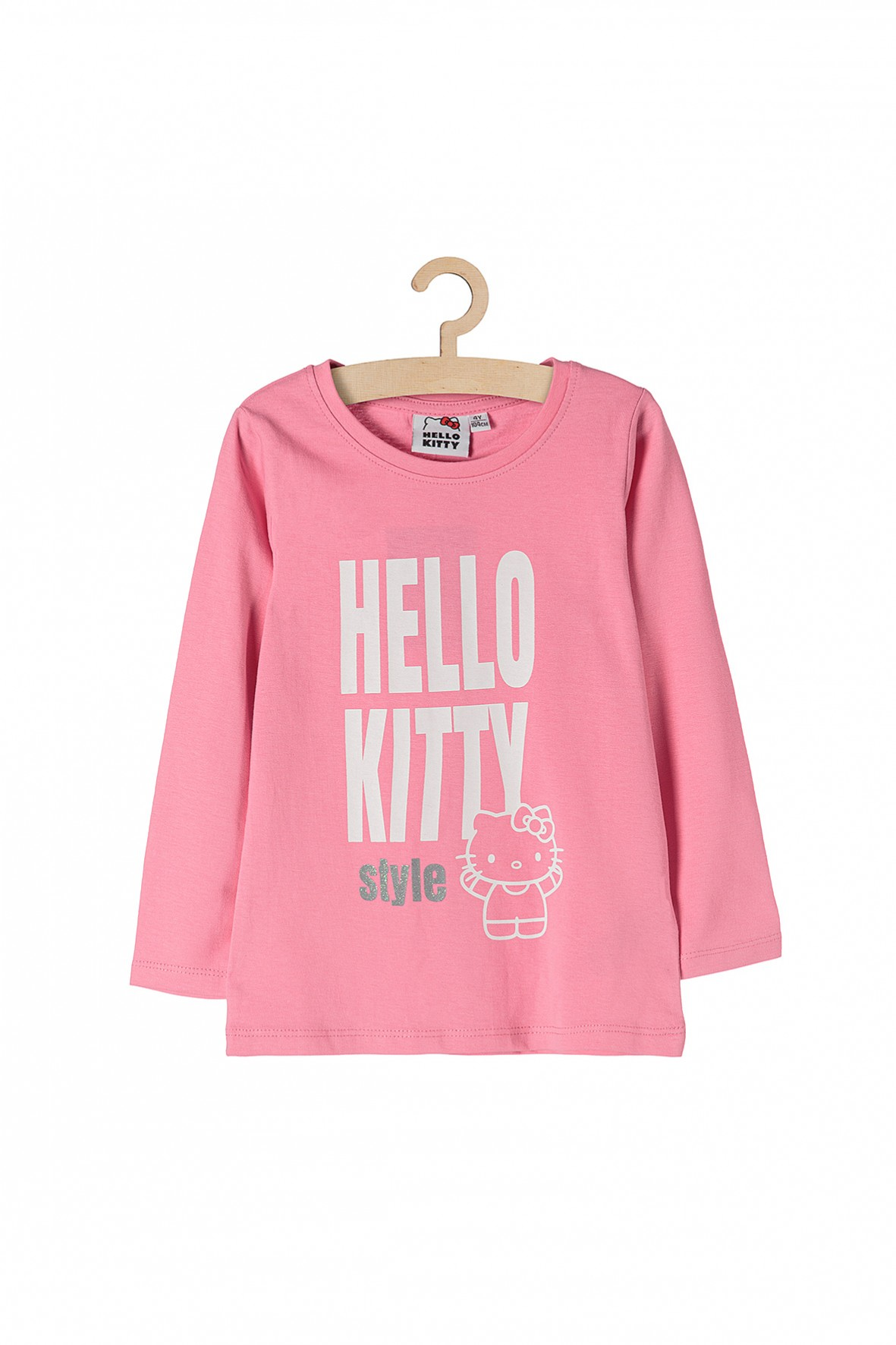 Bluzka dziewczęca z długim rękawem biały napis Hello Kitty