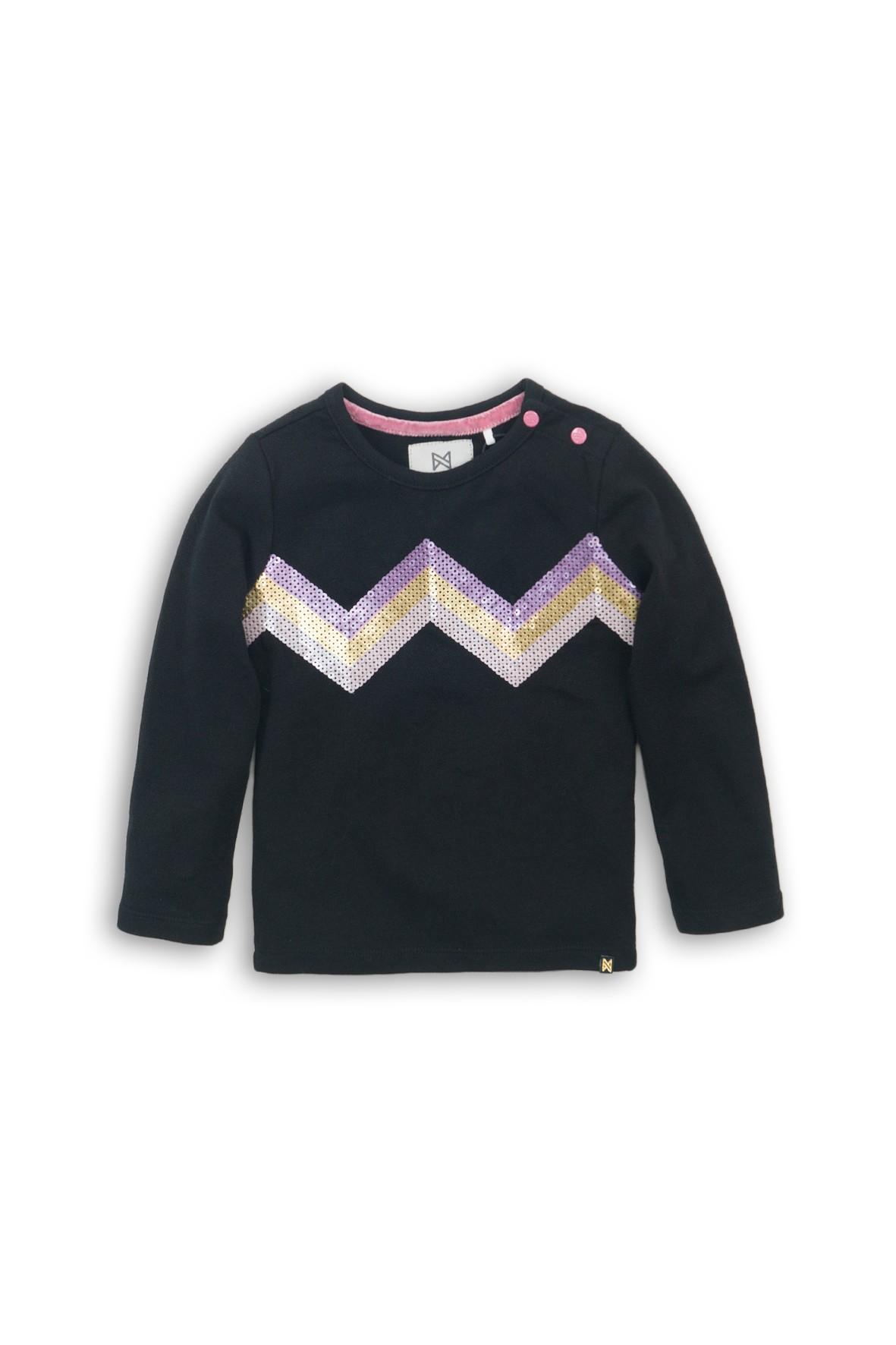 Bluzka dla dziewczynki- czarna z cekinowym wzorem