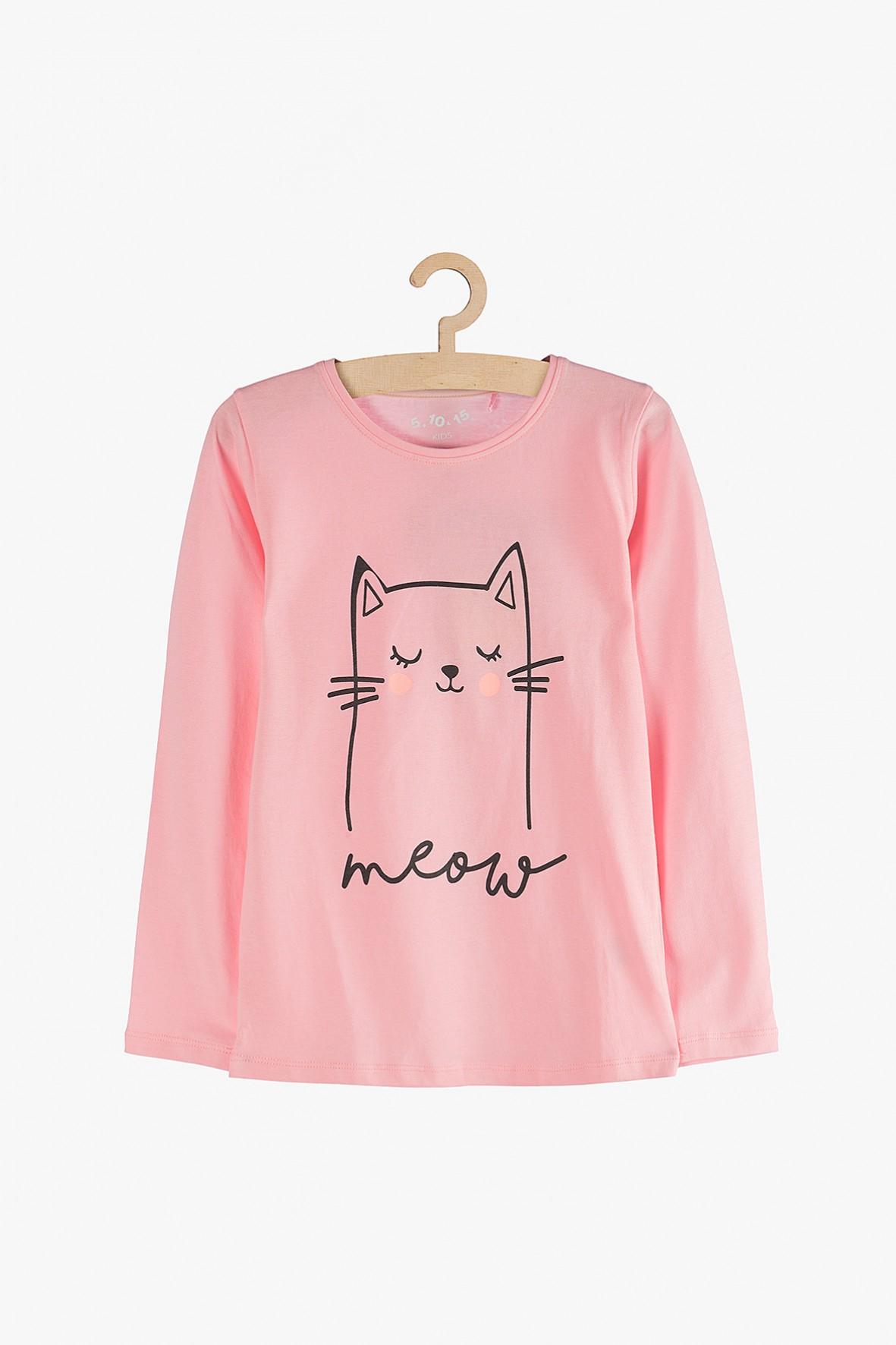 Bluzka dziewczęca z długim rękawem różowa z kotem