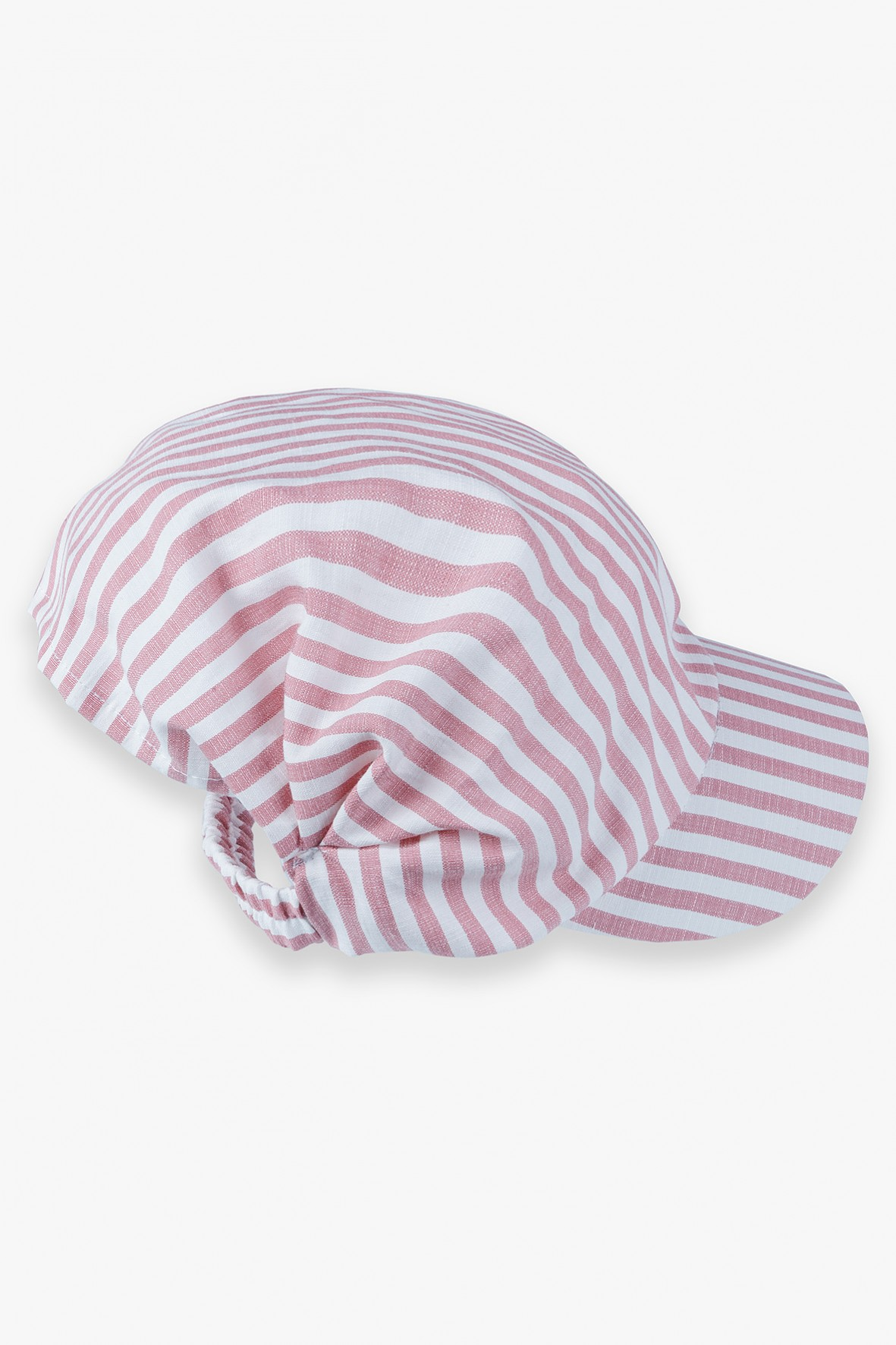 Czapka z daszkiem dziewczęca w biało - różowe paski