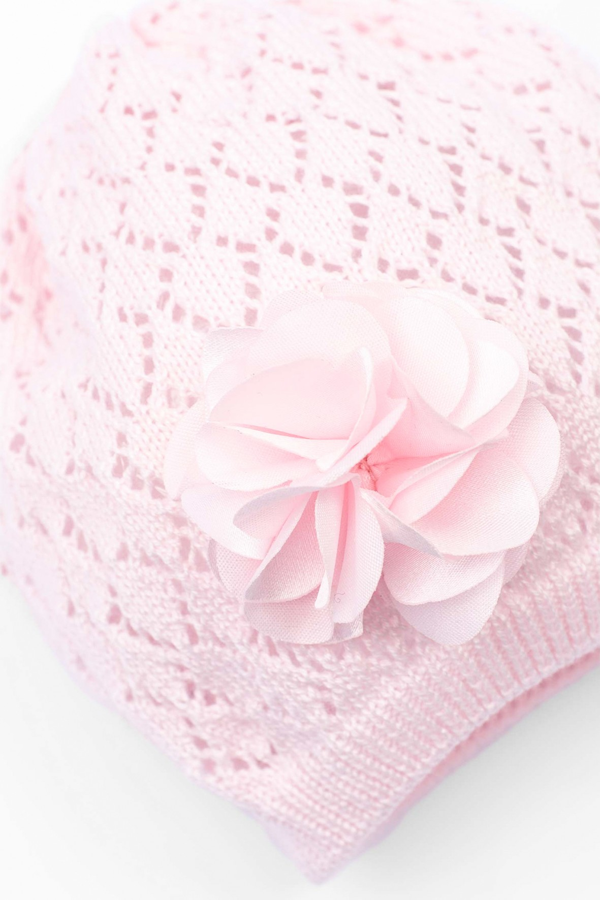 Różowa czapka dla niemowlaka z kwiatem