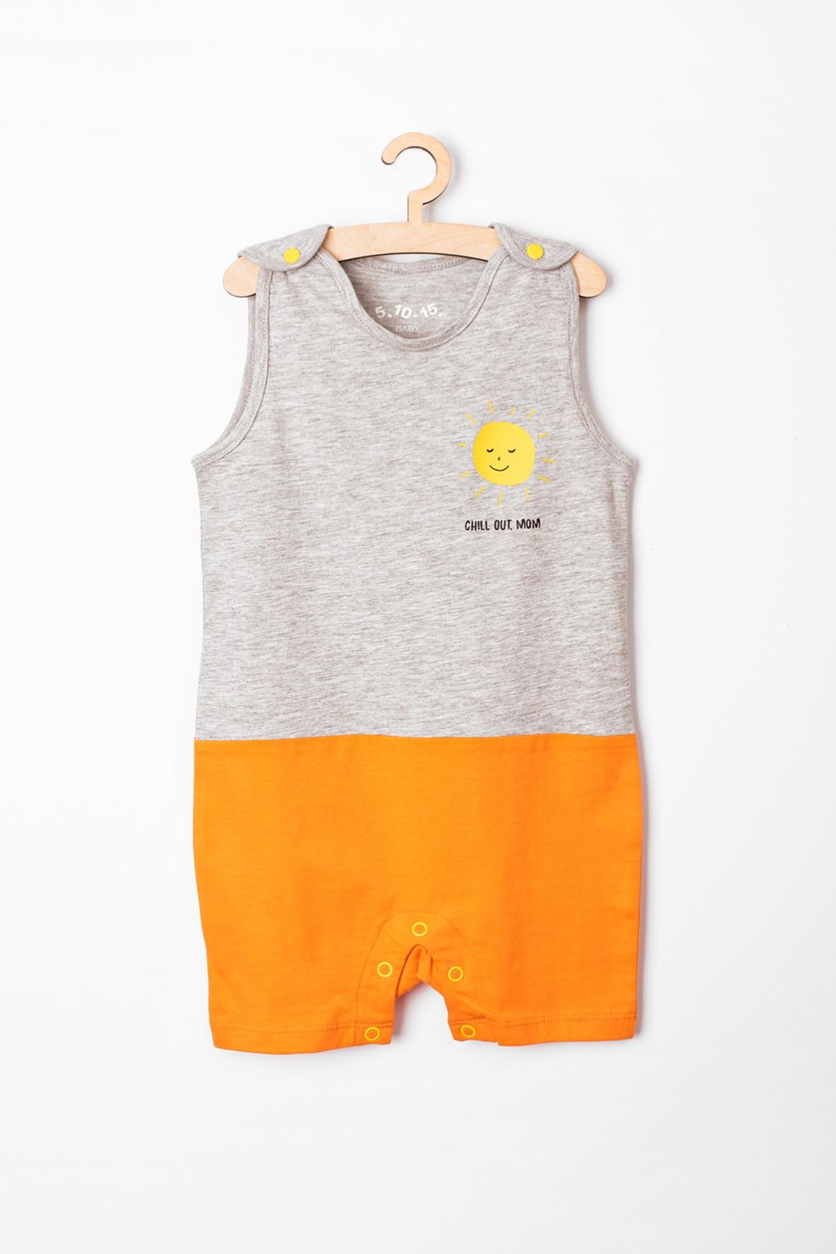 Rampers niemowlęcy szaro-pomarańczowy