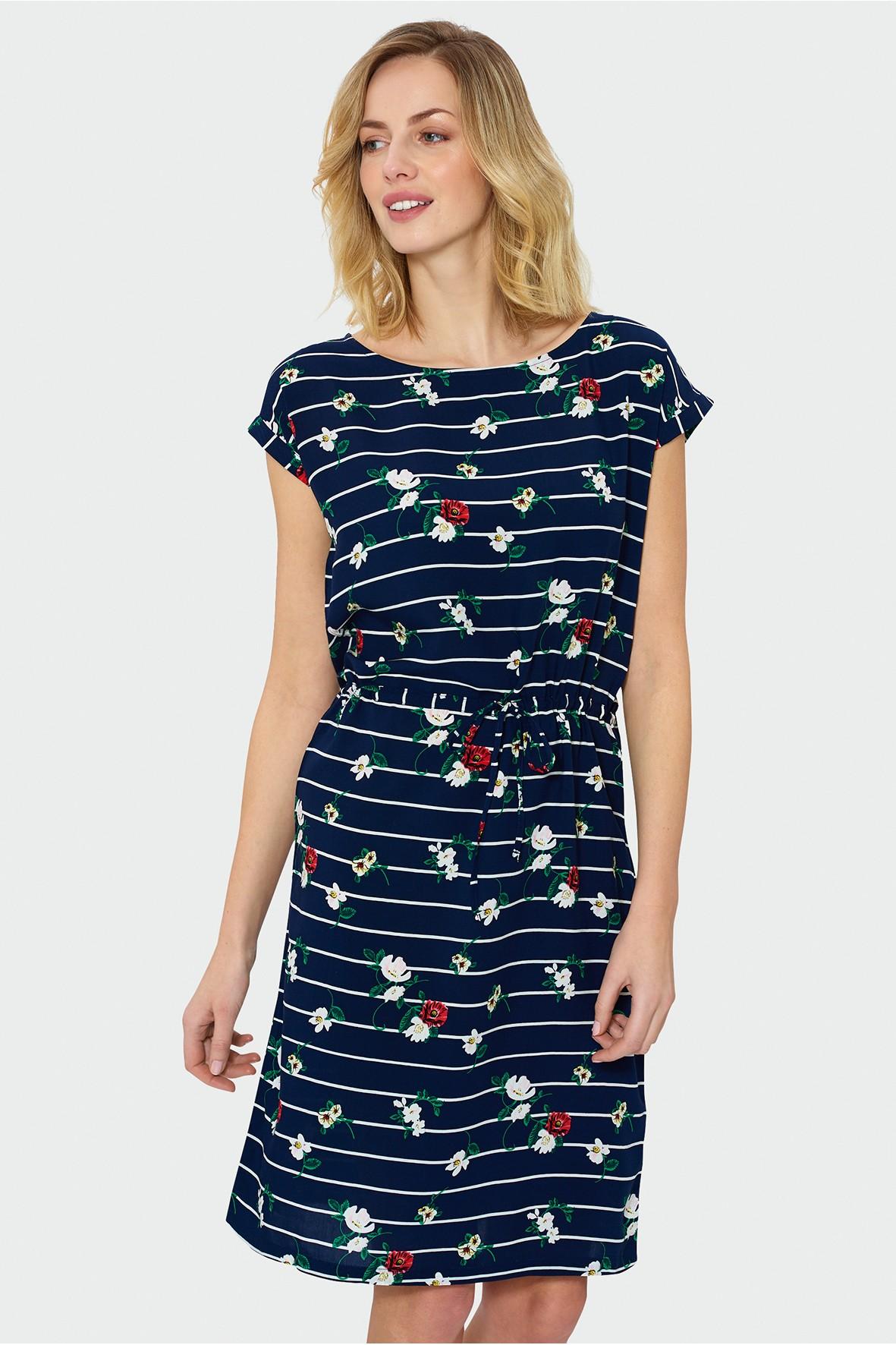 Granatowa sukienka damska ze sznureczkiem w talii