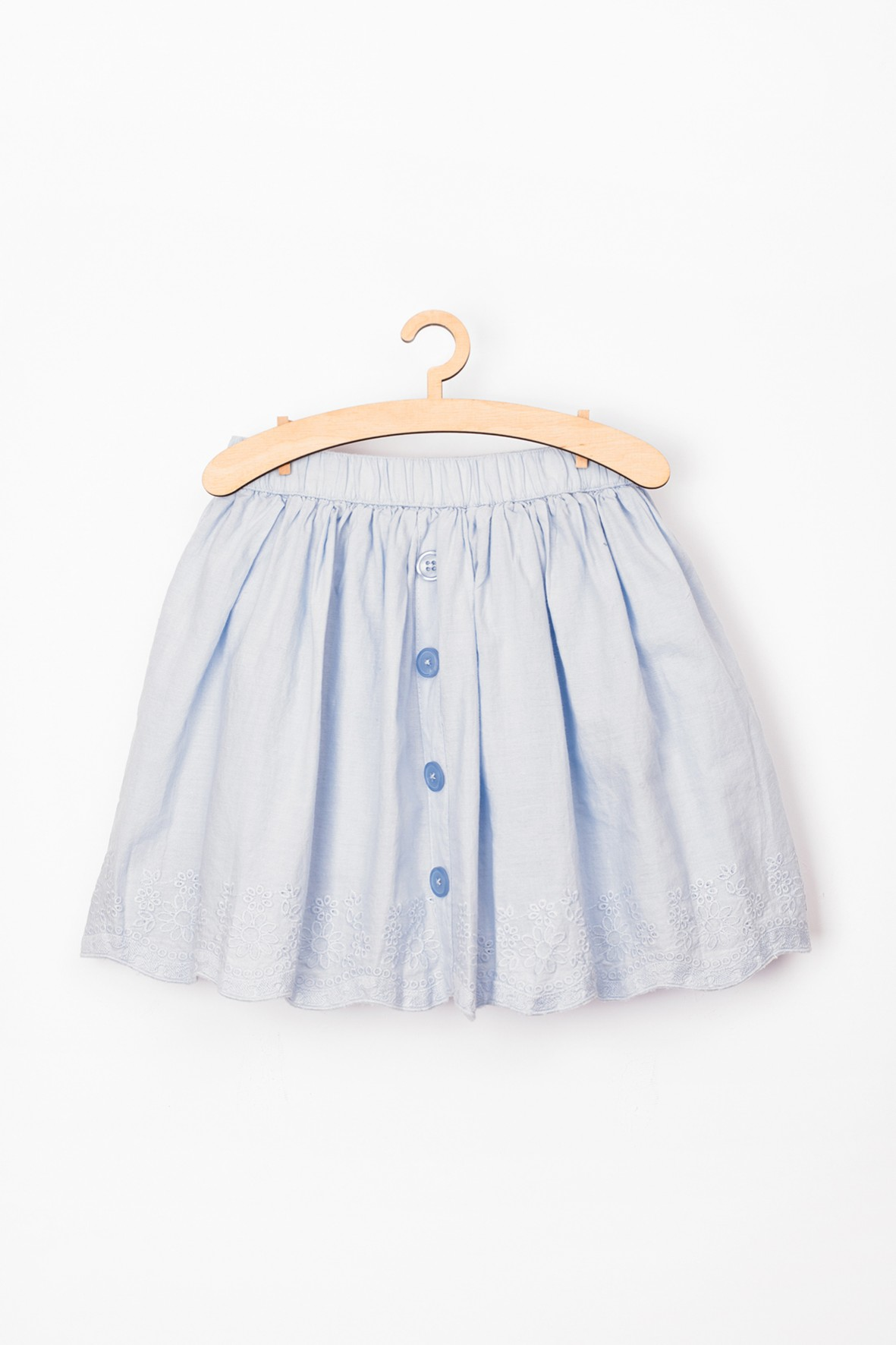 Spódnica dziewczęca niebieska z haftowanym dołem