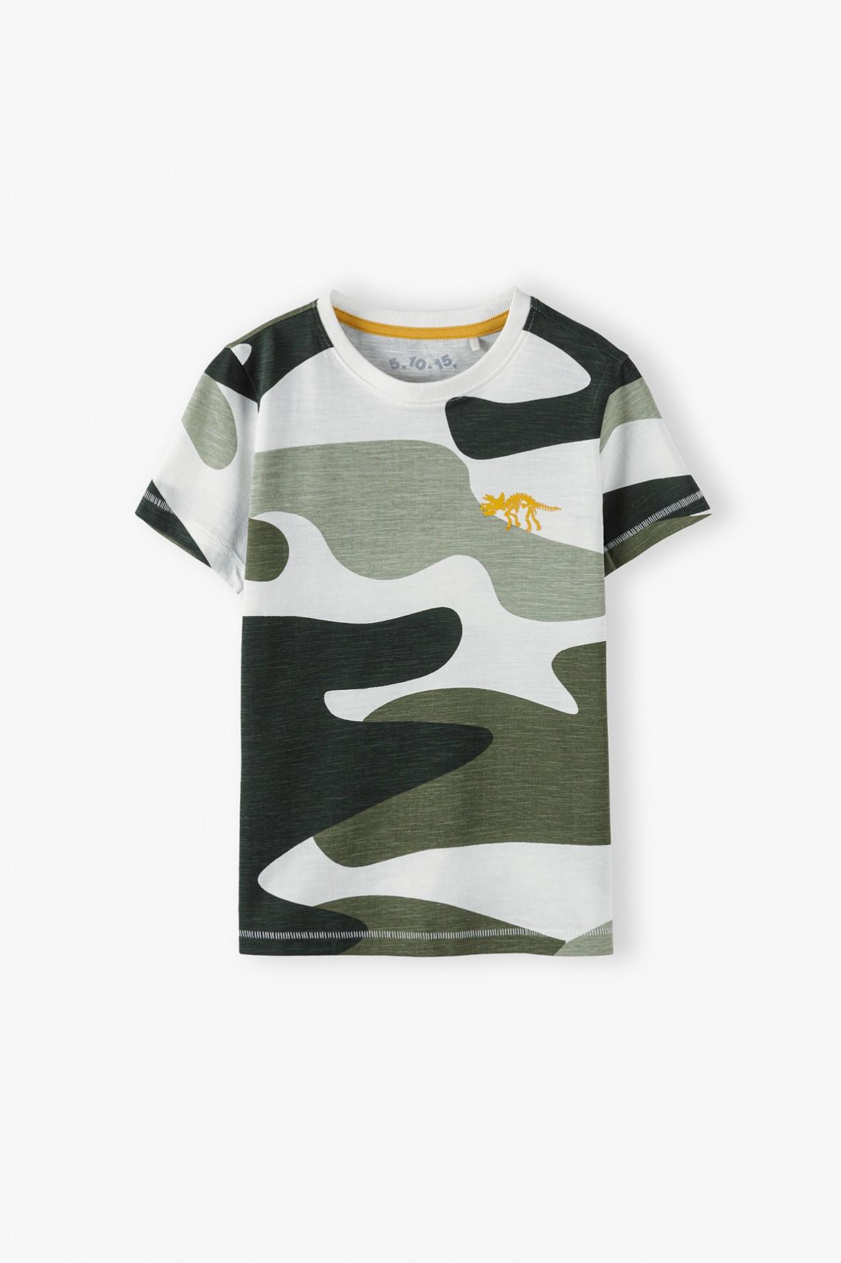 Bawełniany  t-shirt chłopięcy w moro Dino