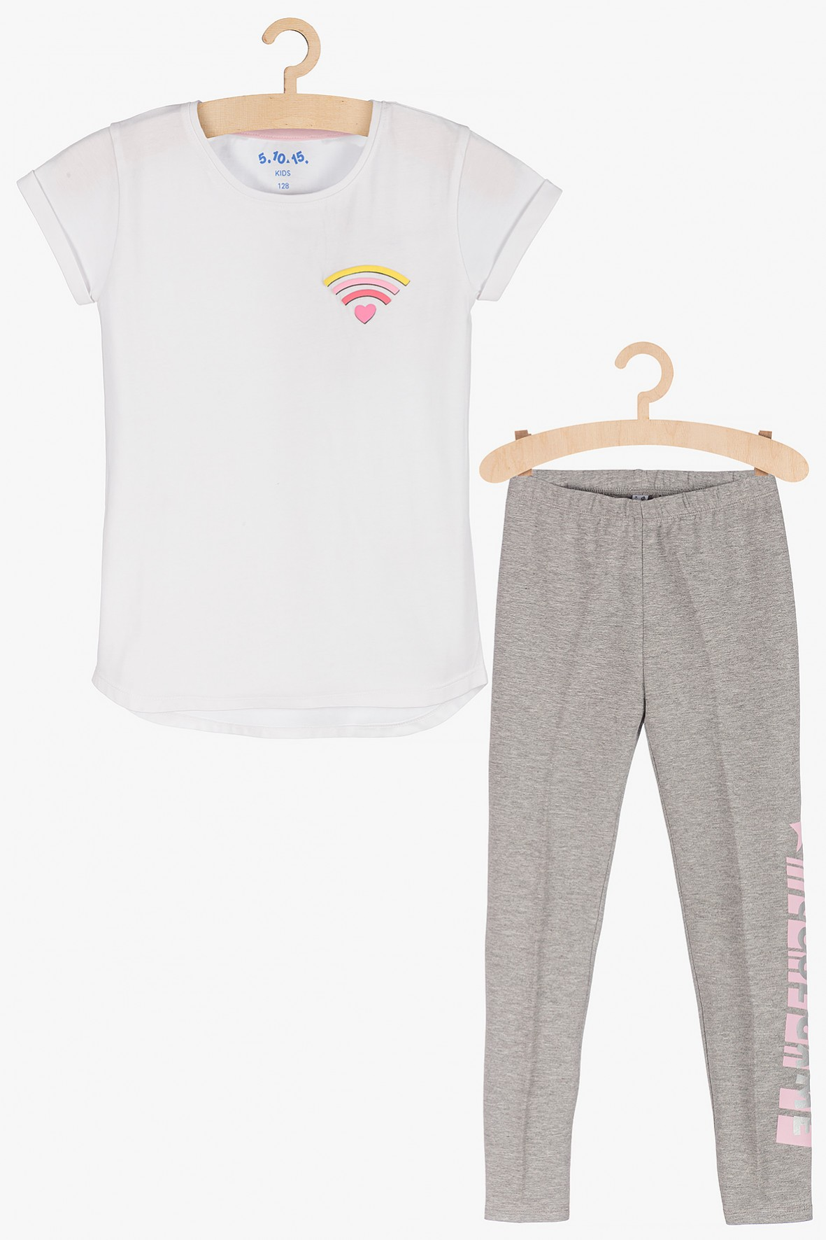 Komplet ubrań dla dziewczynki- leginy i t-shirt
