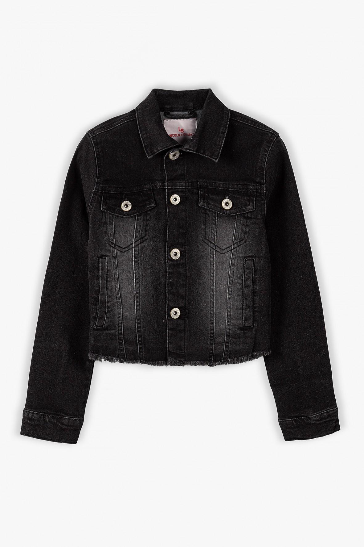 Kurtka jeansowa dziewczęca w kolorze czarnym