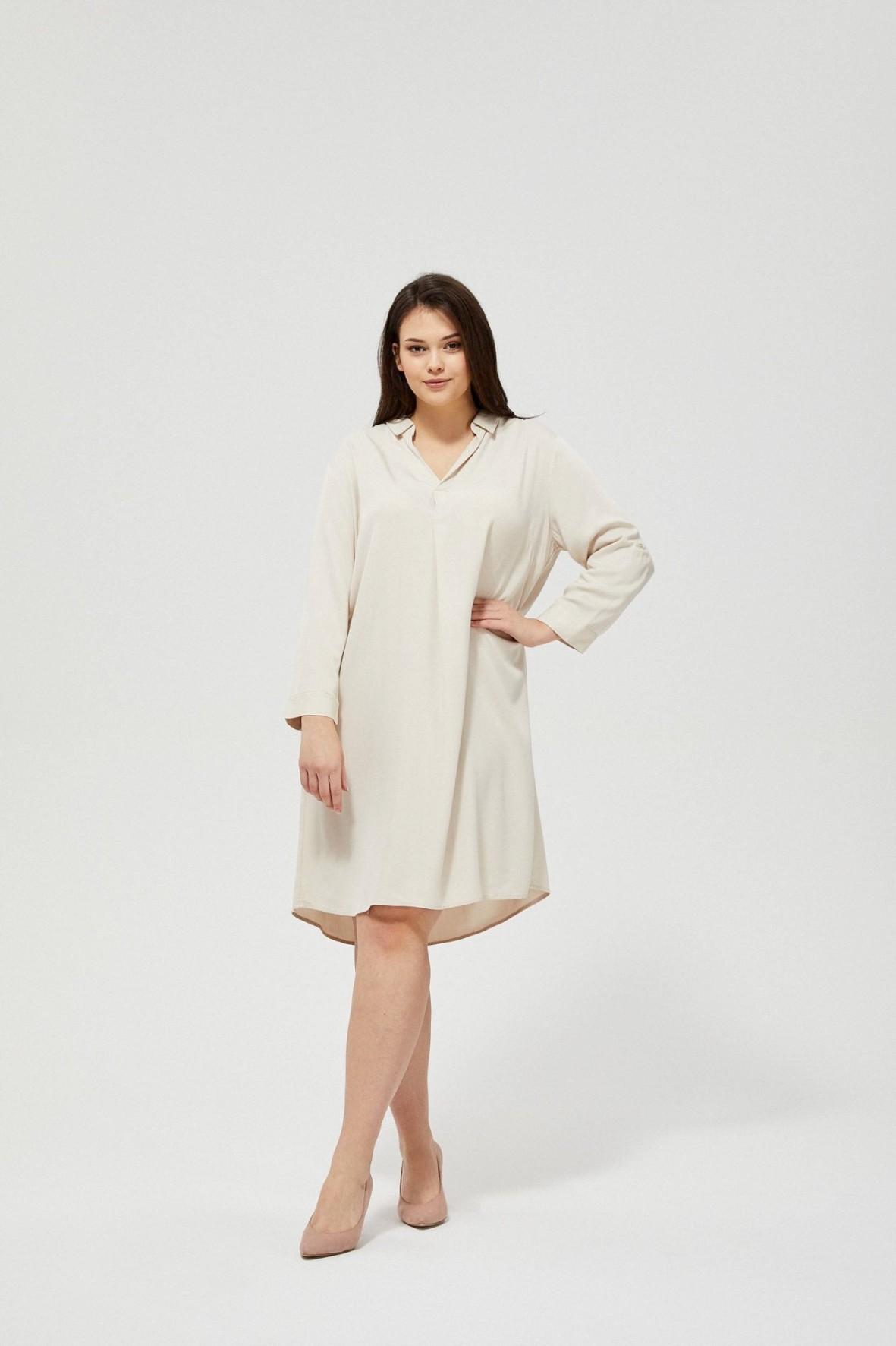 Koszulowa sukienka damska - beżowa