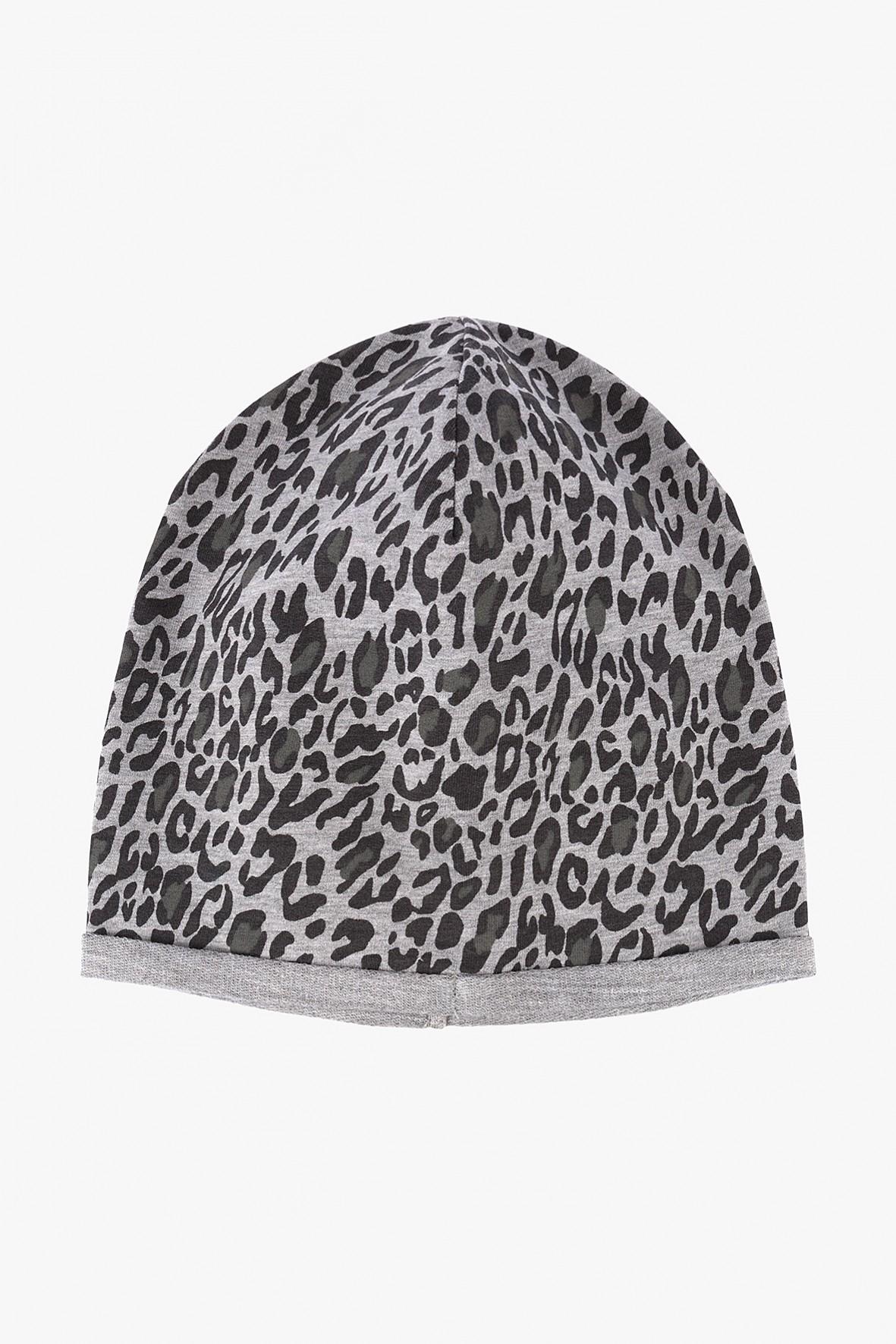 Dzianinowa czapka dla dziewczynki-szara w panterkę