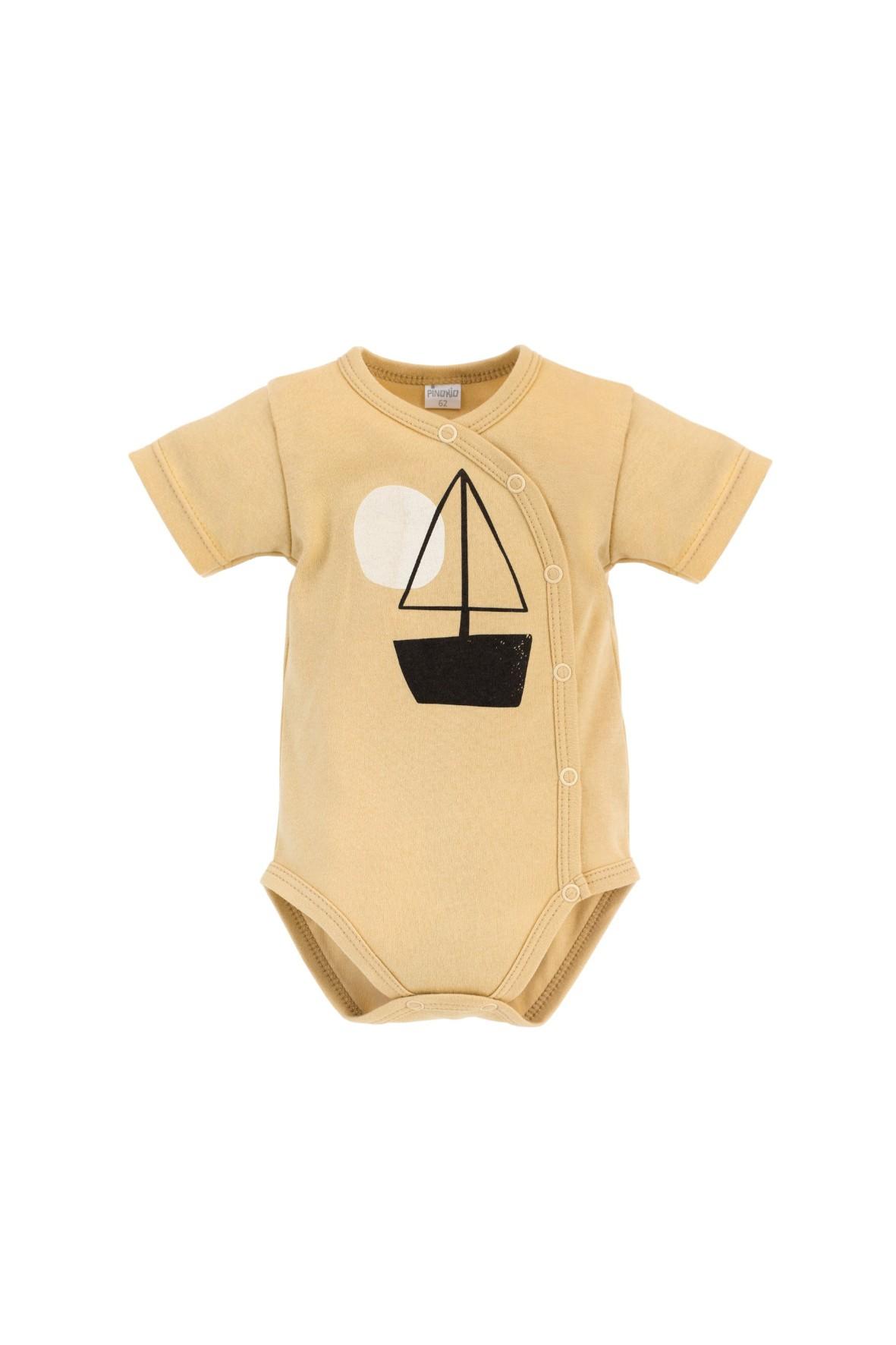 Żółte body niemowlęce z krótkim rękawem ze 100% bawełny