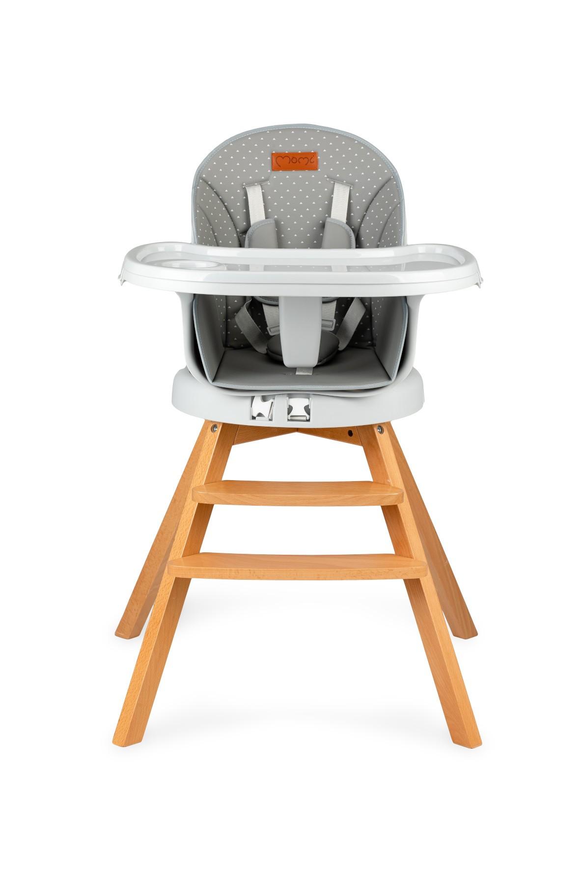 Krzesełko do karmienia 3w1 MoMi WOODI szary kropki