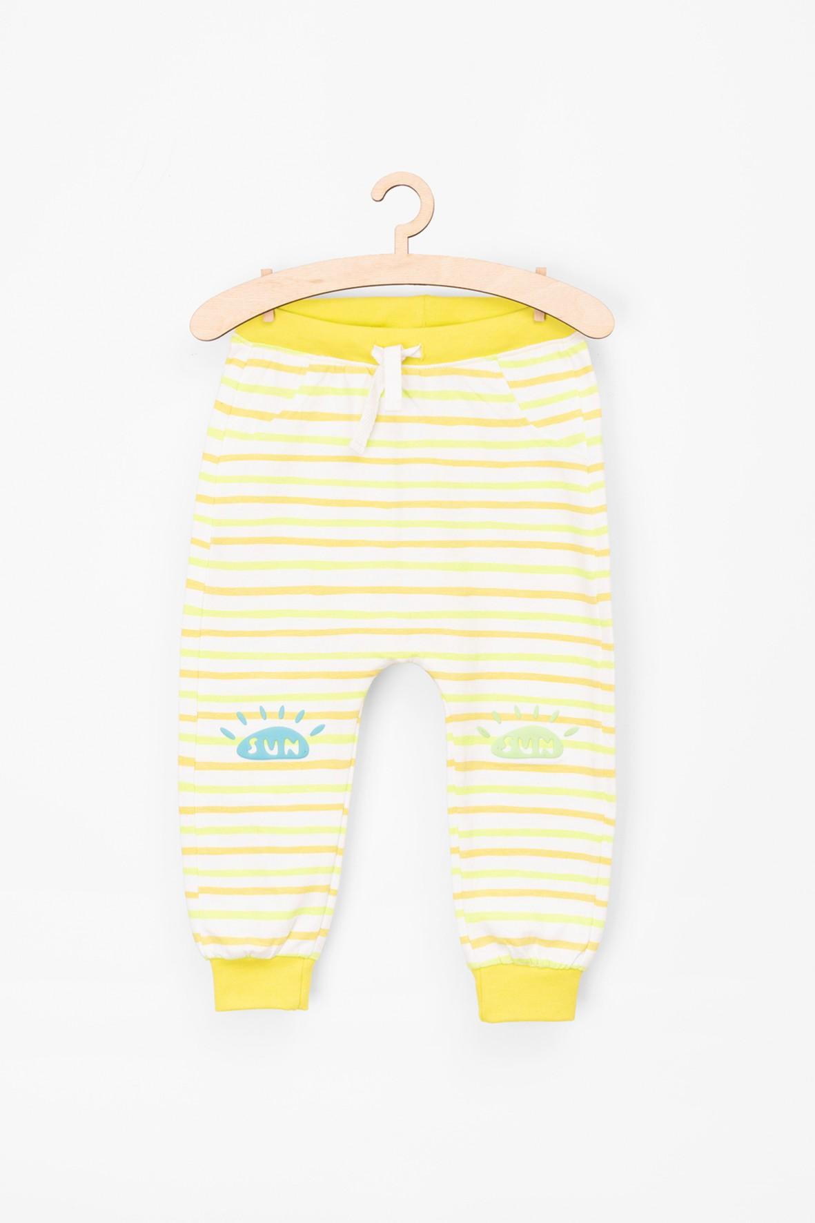 Spodnie dresowe w paski- miękka dzianina dresowa