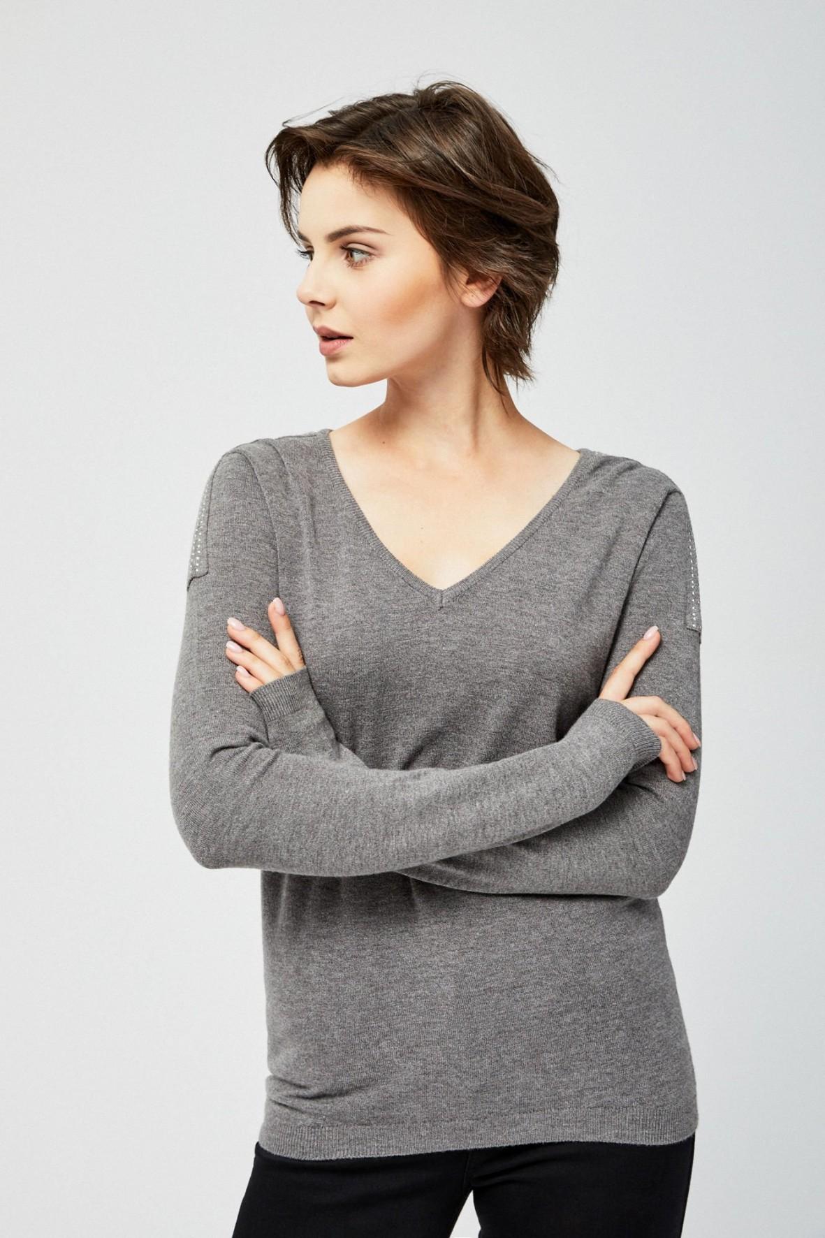 Sweter damski w serek- szary