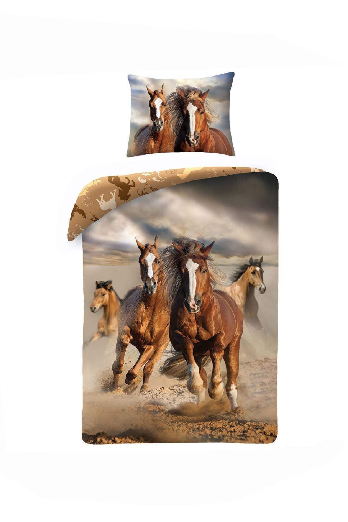 Pościel bawełniana z workiem- Konie 140x200