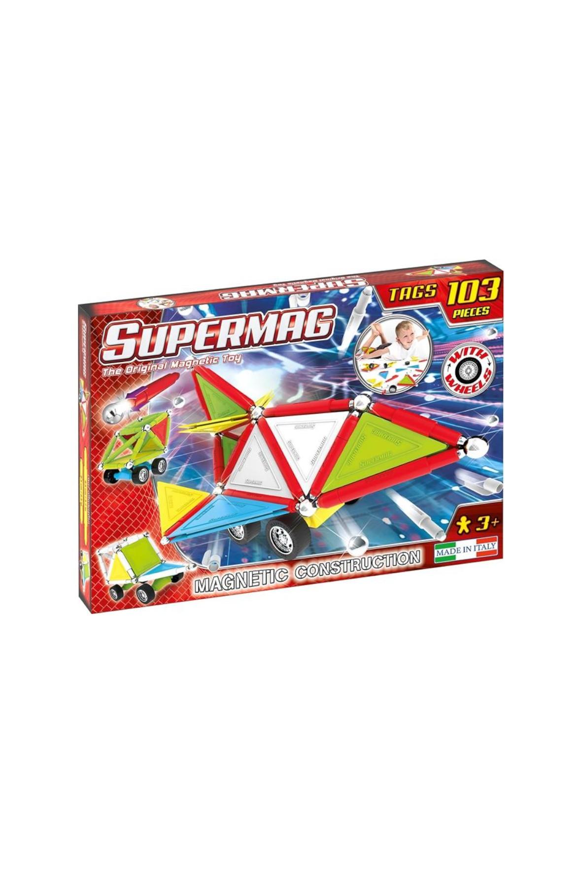 Klocki Magnetyczne Supermag Tags Wheels 103el wiek 3+